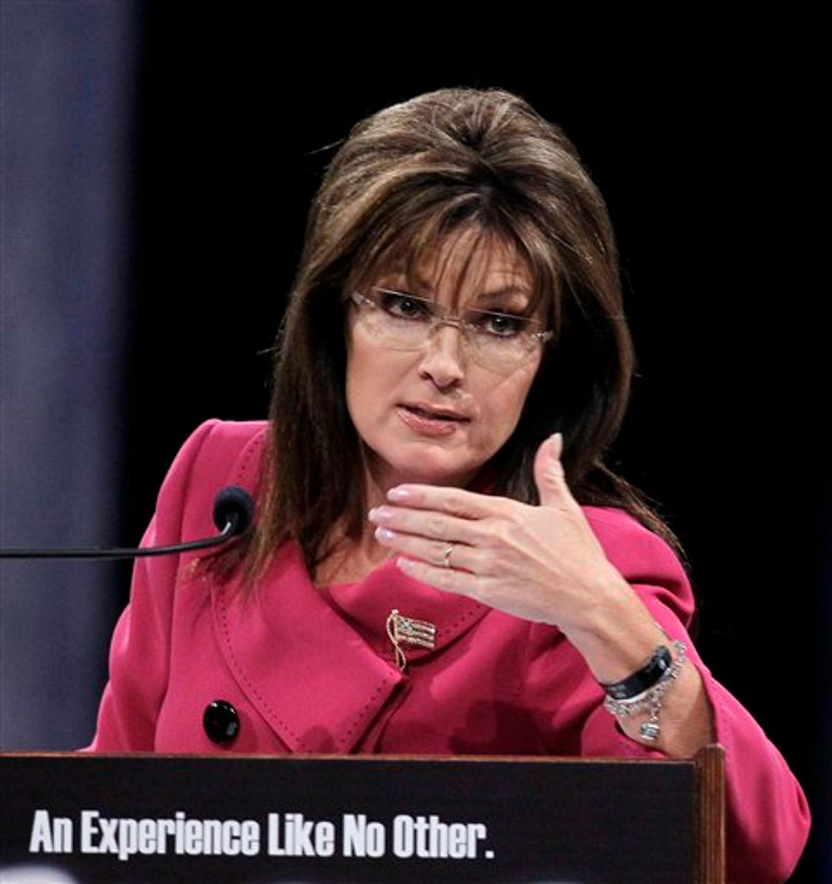 Former Republican vice presidential candidate Sarah Palin gestures while addressing the National Quartet Convention in Louisville, Ky., Thursday, Sept. 16, 2010.  (AP Photo/Ed Reinke) (AP)