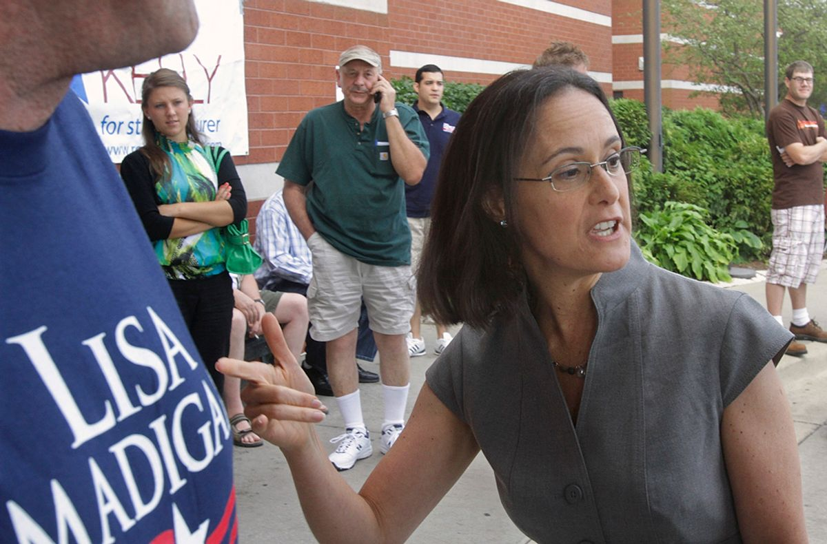 Illinois Attorney General Lisa Madigan speaks with reporters in Springfield, Ill., Wednesday, Aug. 18, 2010. Former Illinois Gov. Rod Blagojevich on Tuesday was convicted on a single count of lying to federal agents. (AP Photo/Seth Perlman) (Seth Perlman)