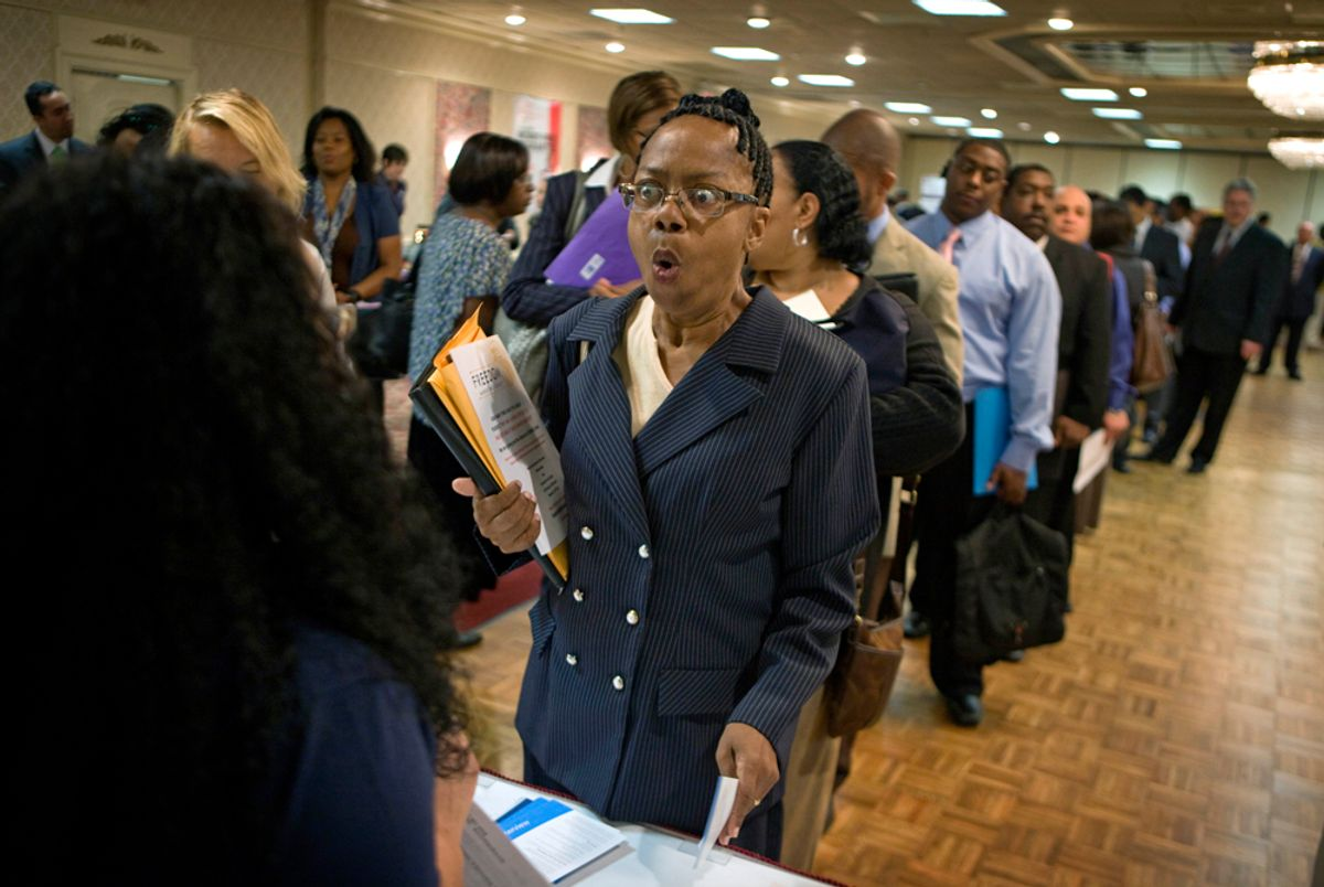 Dabura Karriem, 60, of Bloomfield, N.J., reacts upon hearing there is a job available for exactly what she's looking for as a file clerk at a bank, while attending a career fair in Newark, N.J., Tuesday, Aug. 24, 2010. Karriem's unemployment benefits have expired after being laid off two years ago, the first time she's been unemployed in 38 years. The government on Friday Aug. 27, 2010 is about to confirm what many people have felt for some time: The economy barely has a pulse.  Many analysts say the uncertainty surrounding the economy is holding back consumers from spending and companies from investing and hiring. (AP Photo/David Goldman) (David Goldman)