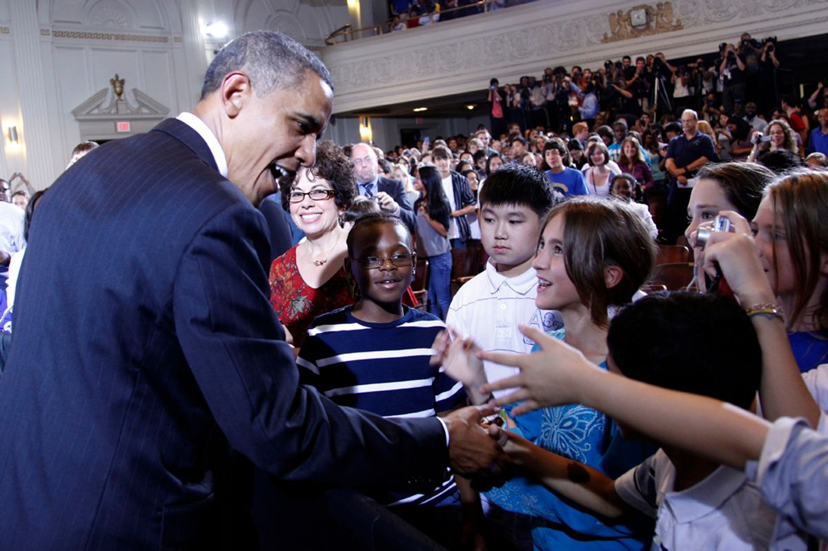 President Barack Obama shakes hands with students after delivering remarks at his second annual back-to-school speech, Tuesday, Sept. 14, 2010, at Julia R. Masterman School in Philadelphia. (AP Photo/Pablo Martinez Monsivais) (Pablo Martinez Monsivais)