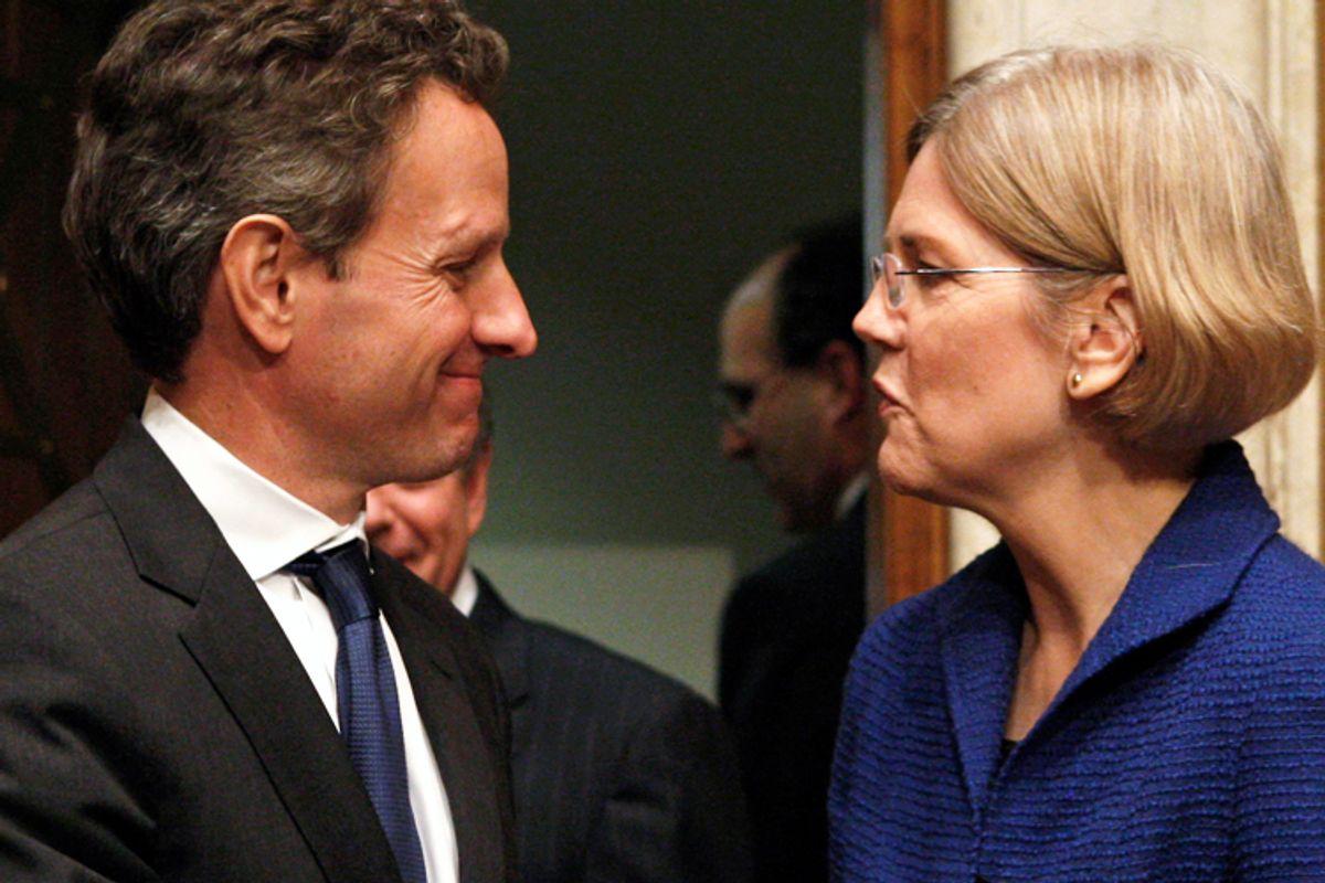 Treasury Secretary Timothy Geithner and Elizabeth Warren