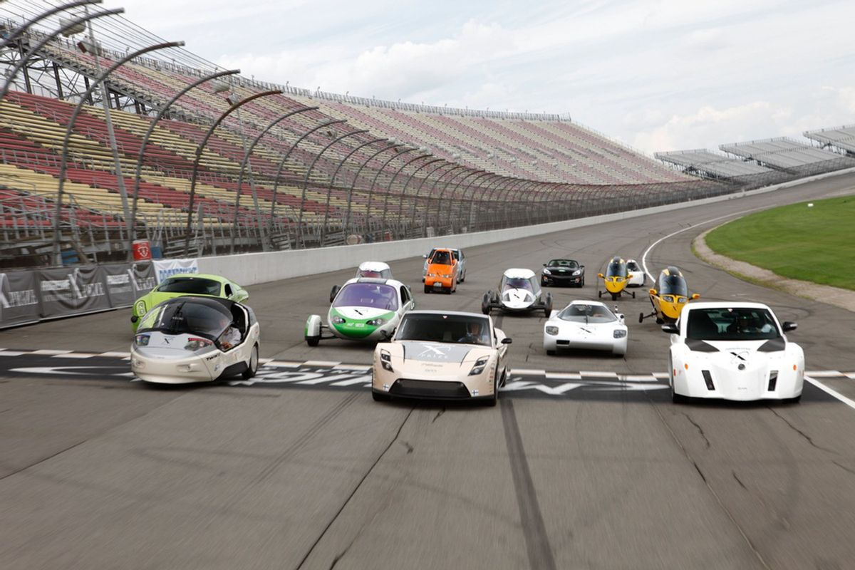 Progressive Insurance Automotive X PRIZE Finalist Vehicles at Michigan International Speedway.  (PRNewsFoto/Progressive Insurance Automotive X PRIZE)  (Pr Newswire)