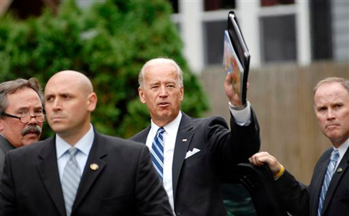 Vice President Joe Biden waves after speaking in the living room of Lorrie and Robert Cochran in Manchester, N.H., Monday, Sept. 27,2010. (AP Photo/Thomas Roy, Pool) (AP)