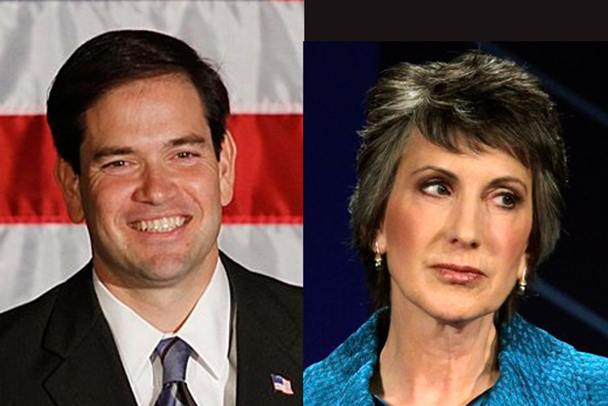 Republican Senate candidates Marco Rubio and Carly Fiorina
