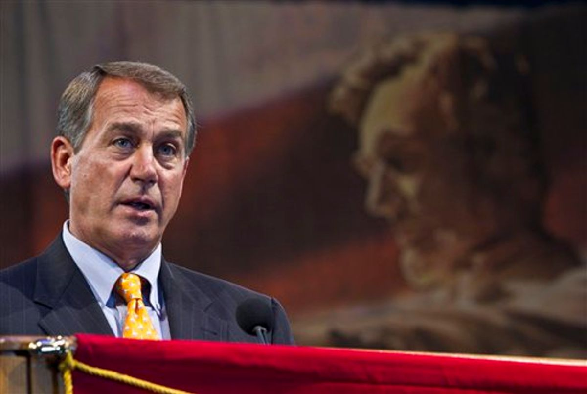 House Republican leader John Boehner speaks at the American Legion convention Tuesday, Aug. 31, 2010, in Milwaukee. (AP Photo/Morry Gash) (AP)