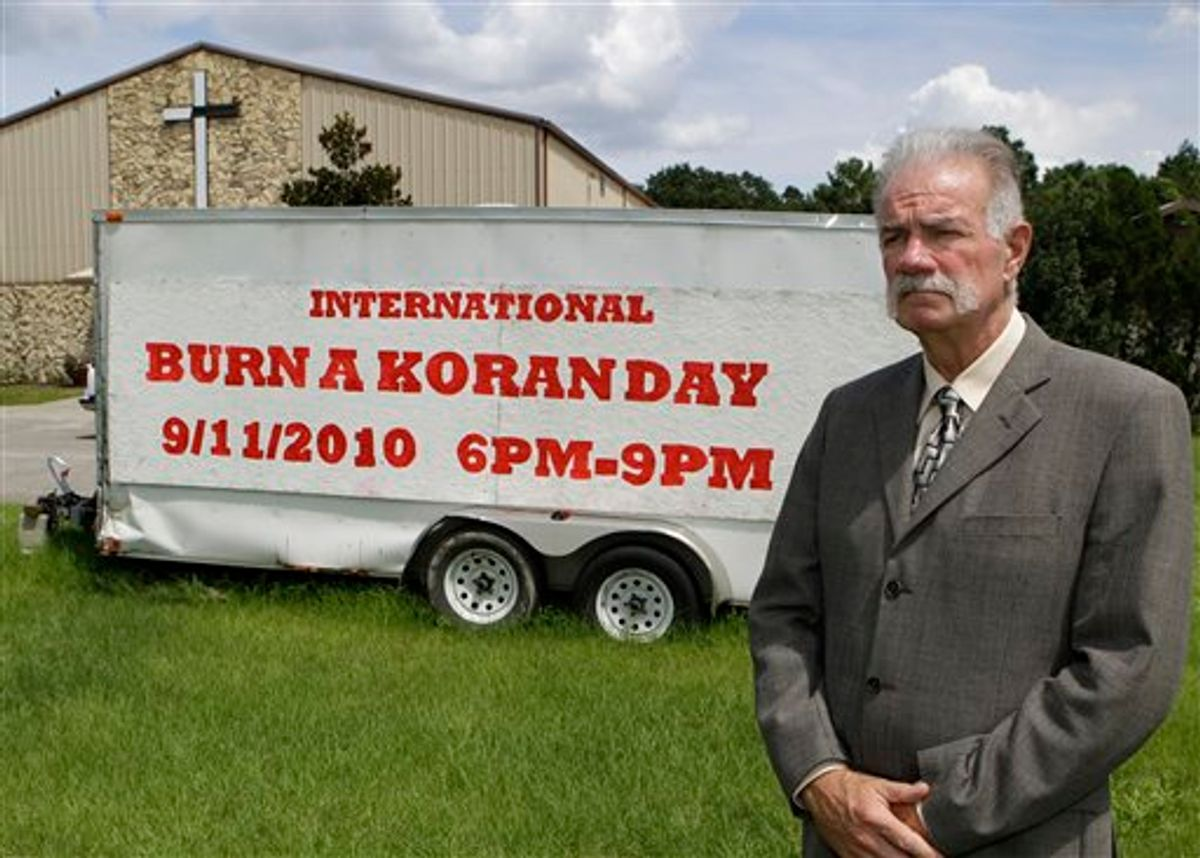 Rev. Terry Jones at the Dove World Outreach Center in Gainesville, Fla., Monday, Aug. 30, 2010. Jones plans to burn copies of the Quran on church grounds to mark the Sept. 11, 2001 terrorist attacks on the United States that provoked the Afghan war.   (AP Photo/John Raoux) (AP)