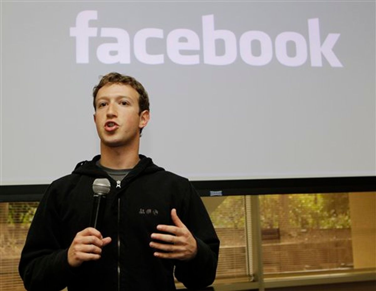 Facebook CEO Mark Zuckerberg talks about the social network site's new privacy settings in Palo Alto, Calif., Wednesday, May 26, 2010. (AP Photo/Marcio Jose Sanchez)  (AP)