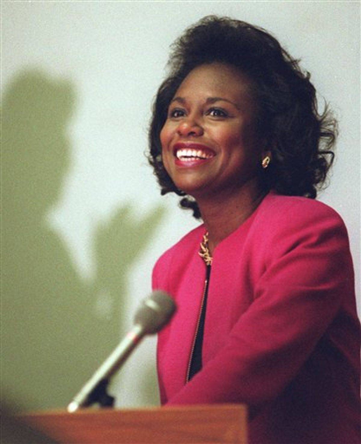 FILE - In this April 8, 1993, file photo, Anita Hill is seen in Cambridge, Mass. Virginia Thomas, wife of Supreme Court Justice Clarence Thomas is asking Hill to apologize for accusing the justice of sexually harassing her, 19 years after Thomas' confirmation hearing spawned a national debate about harassment in the workplace.  (AP Photo/Susan Walsh) (AP)