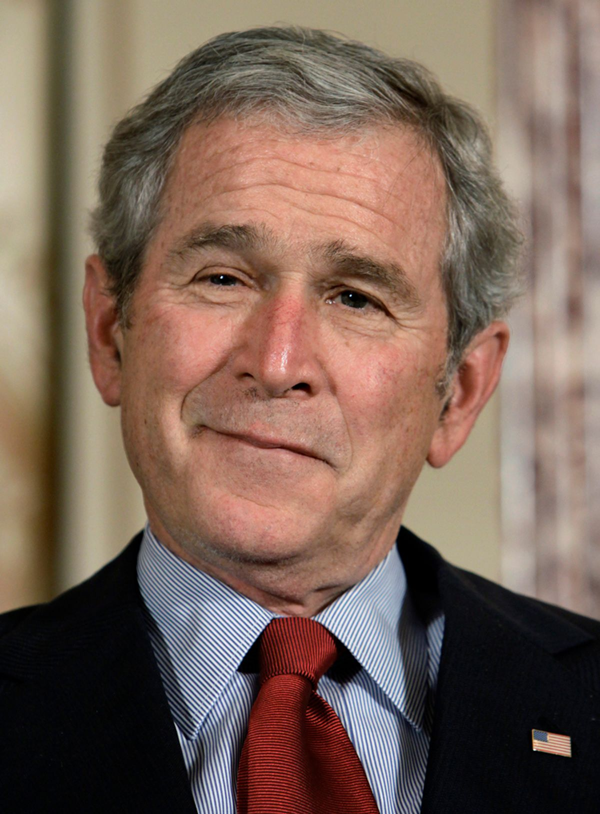 U.S. President George W. Bush attends the ceremony to commemorate foreign policy achievements at the State Department in Washington January 15, 2009. REUTERS/Yuri Gripas (UNITED STATES) (© Yuri Gripas / Reuters)