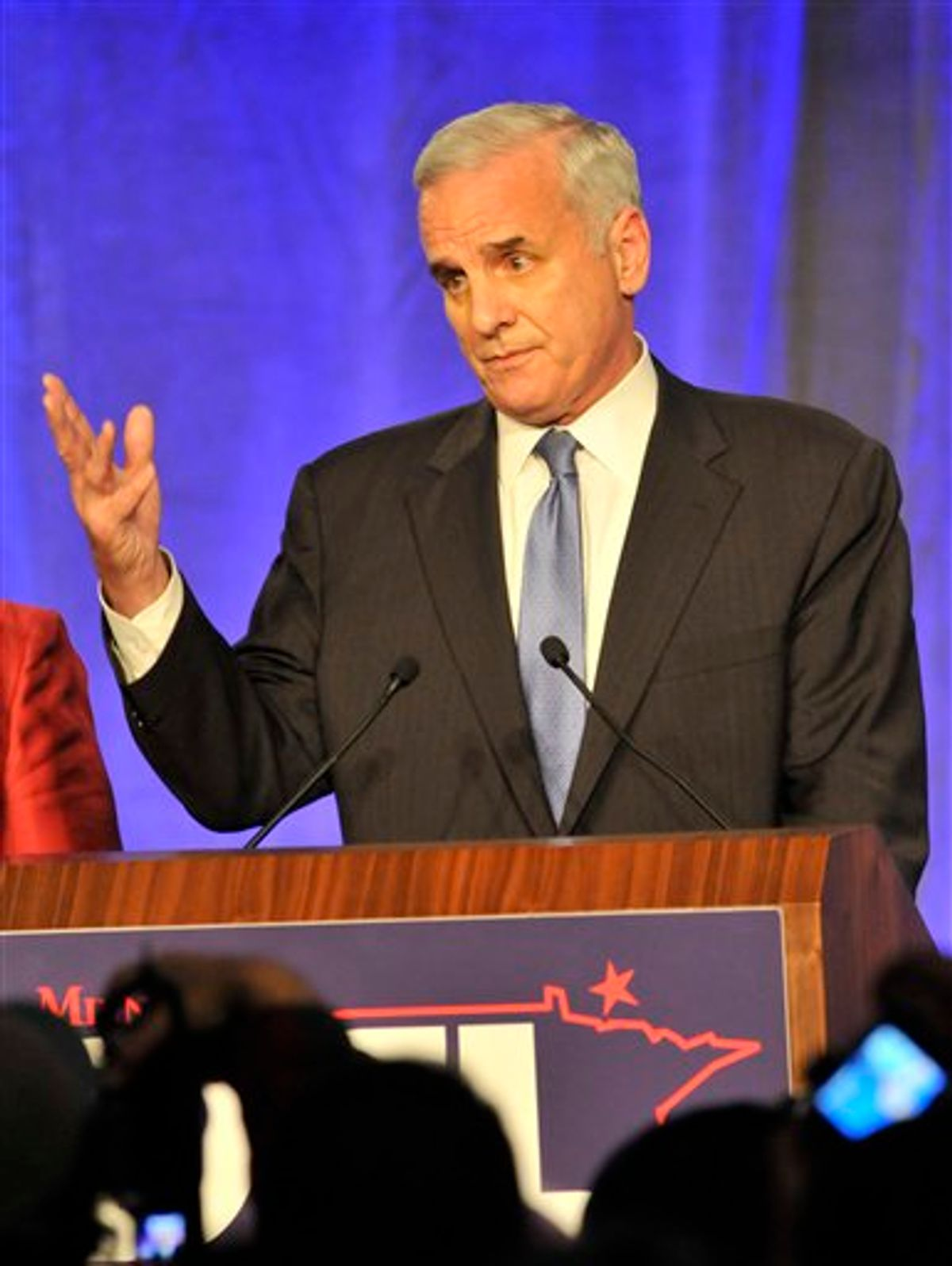 Minnesota Democratic gubernatorial candidate Mark Dayton addresses his supporters as he awaited the outcome of his race at his election night rally early Wednesday, Nov. 3, 2010 in Minneapolis. (AP Photo/Jim Mone) (AP)