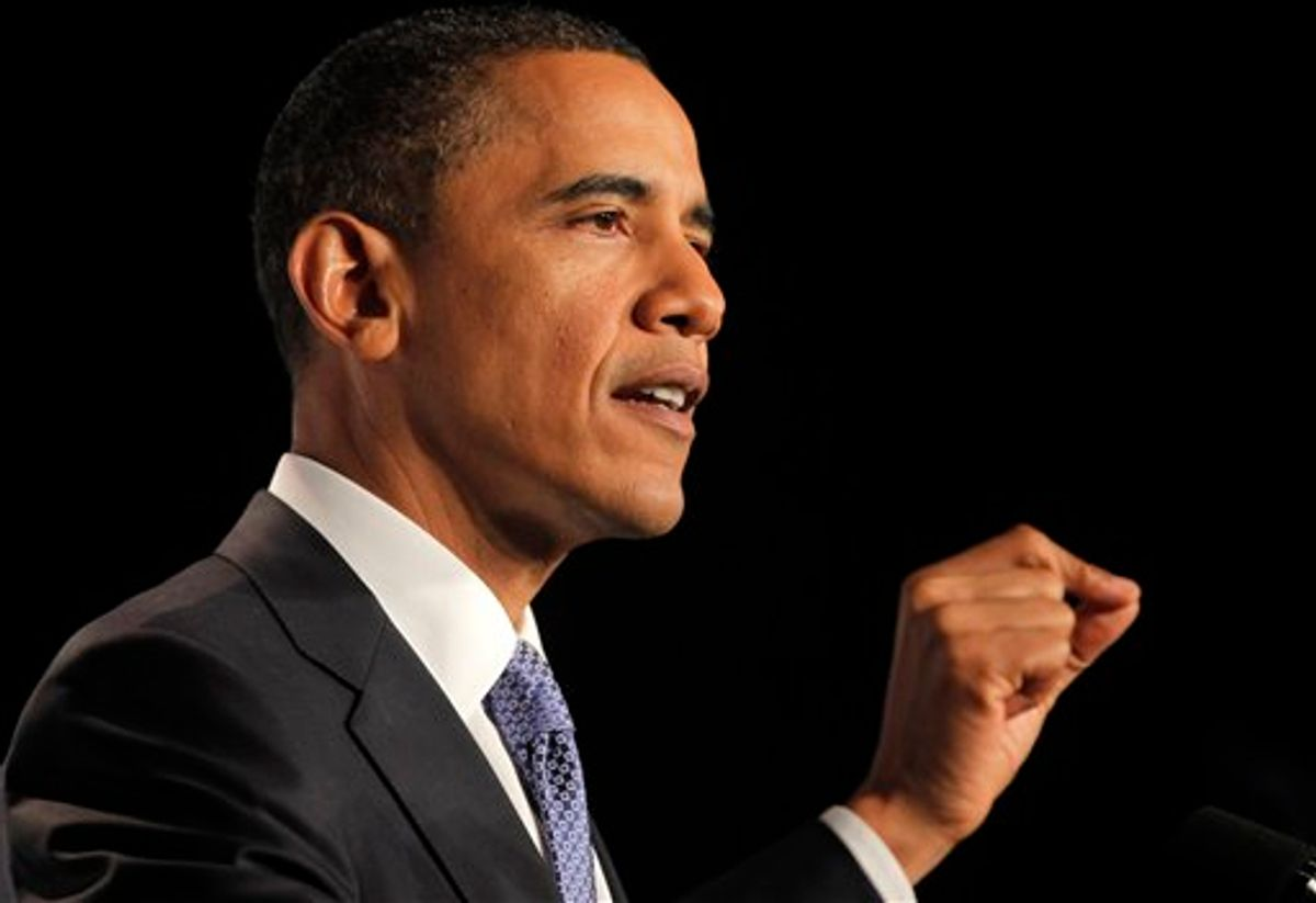 U.S. President Barack Obama speaks at the U.S.-India Business Council and Entrepreneurship Summit in Mumbai, India, Saturday, Nov. 6, 2010. (AP Photo/Charles Dharapak) (AP)