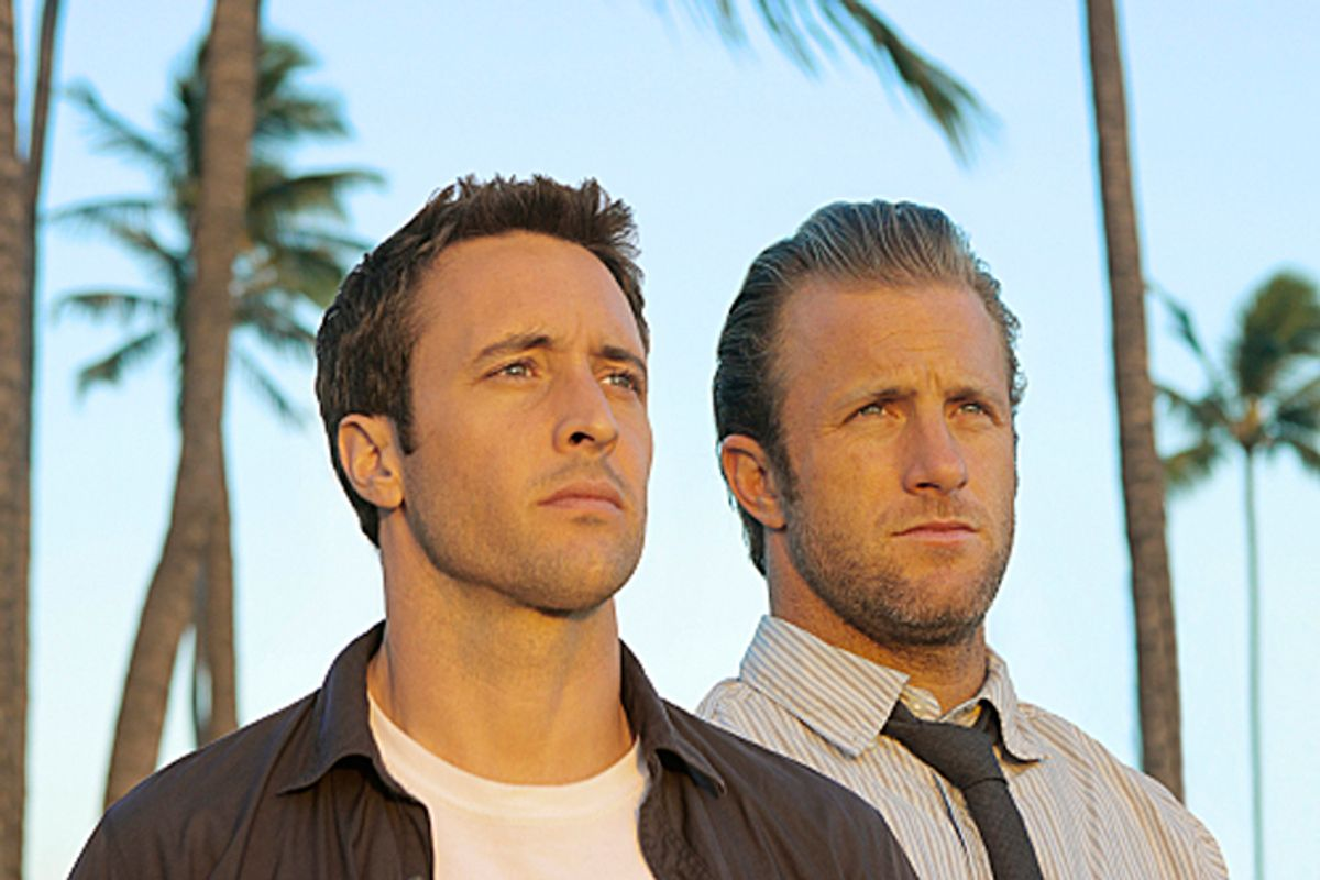 """HAWAII FIVE-O is a contemporary take on the classic drama series about a new elite federalized task force whose mission is to wipe out the crime that washes up on the Islands' sun-drenched beaches.   Left to right: Alex O'Loughlin plays Detective Steve McGarrett and Scott Caan plays Detective Danny """"Danno"""" Williams Photo: Mario Perez/CBS ©2010 CBS Broadcasting Inc. All Rights Reserved. (Mario Perez)"""