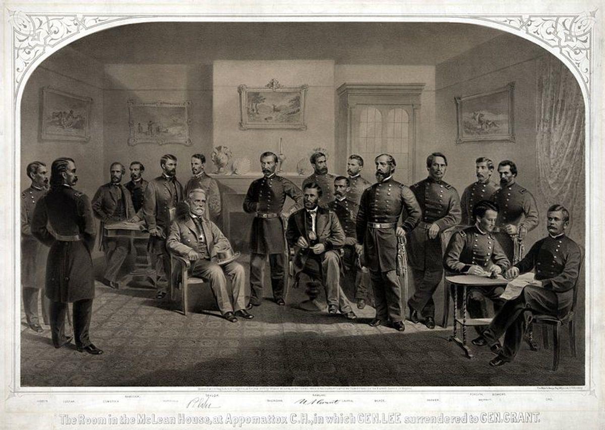 Gen. Robert E. Lee's surrender to Lt. Gen. Ulysses S. Grant at Appomattox on April 9, 1865