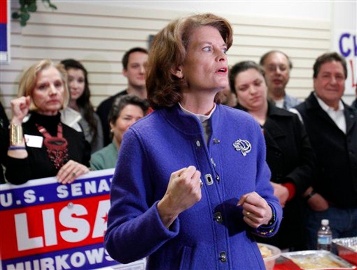Senator Lisa Murkowski (R) Alaska, gestures during a rally at her campaign headquarters Monday, Nov. 1, 2010, in Anchorage,  Alaska. (AP Photo/Ben Margot) (AP)