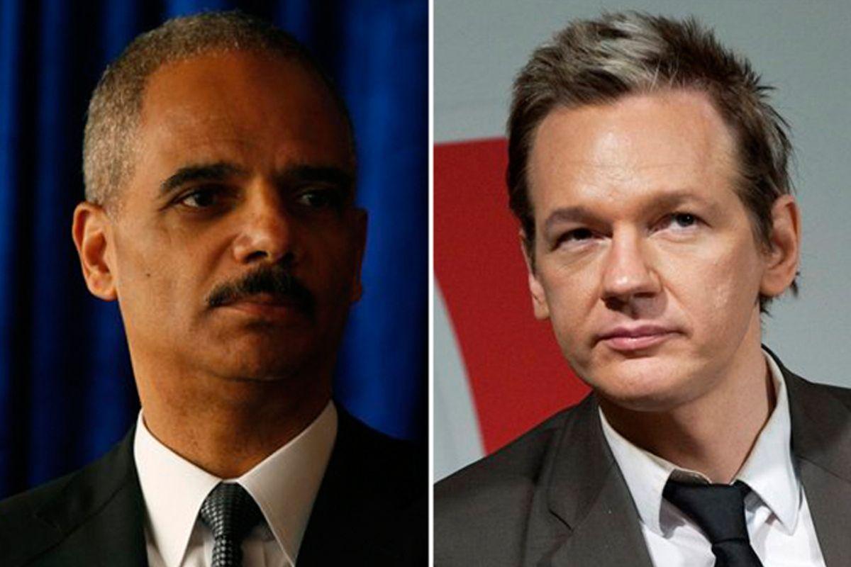 Eric Holder and Julian Assange
