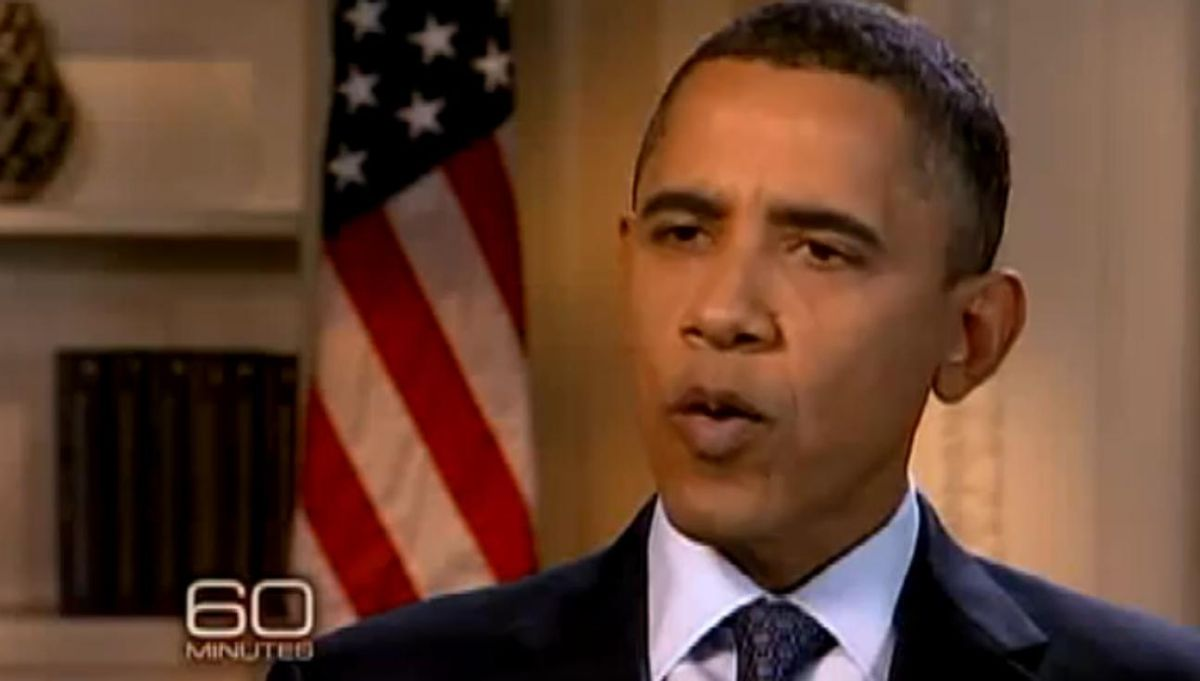 "President Obama on CBS' ""60 Minutes"" on Sunday night"