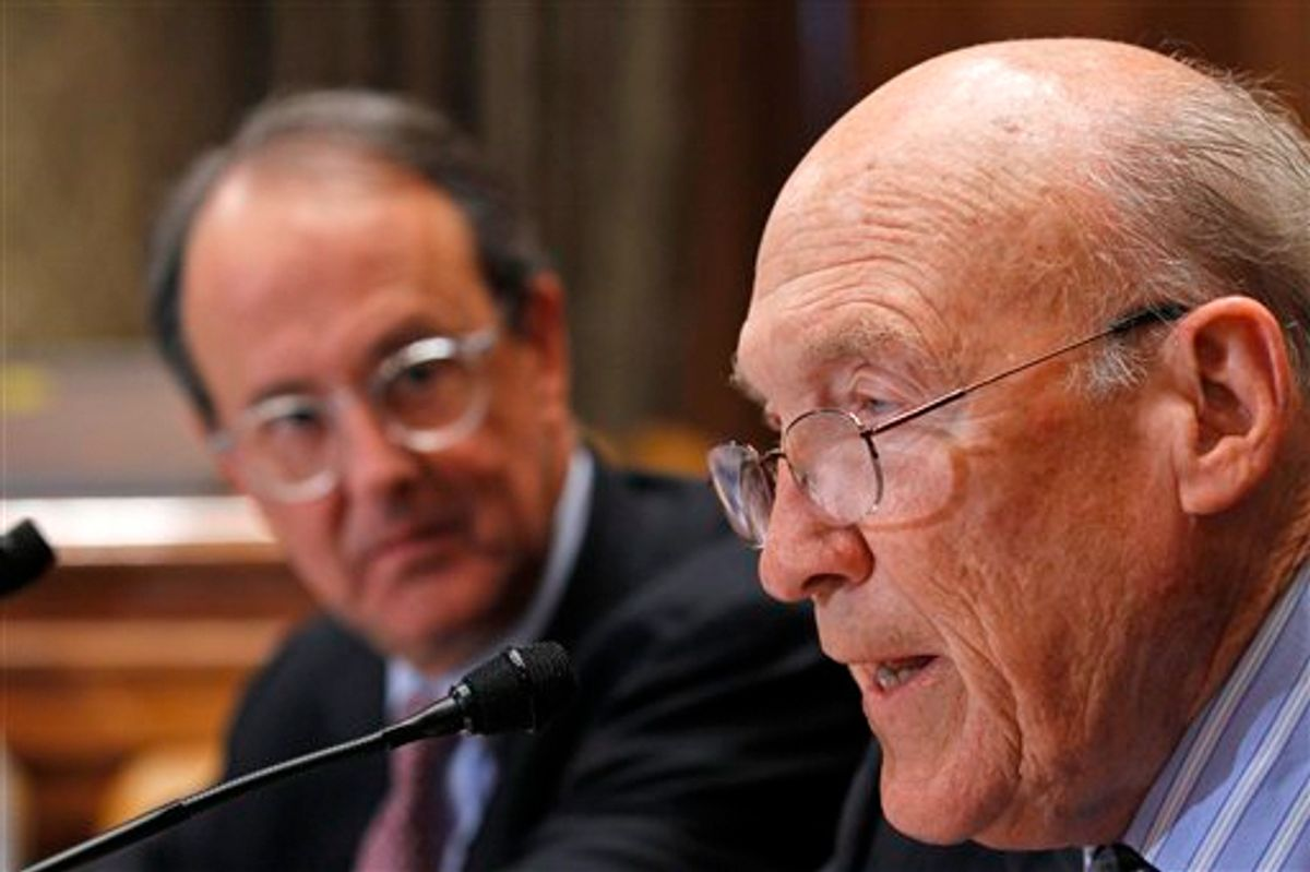 Former Wyoming Sen. Alan Simpson, co-chairman of President Barack Obama's bipartisan deficit commission (with Erskine Bowles in back), take part in a news conference on Capitol Hill in Washington Wednesday, Nov. 10, 2010.