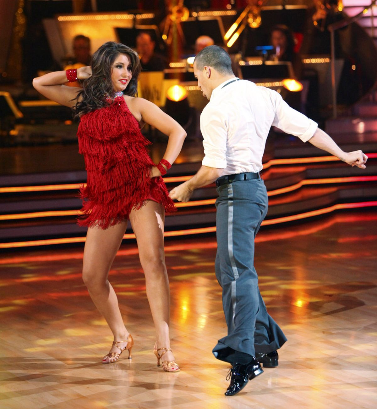 """DANCING WITH THE STARS - """"Episode 1101"""" - The Season 11 star-studded cast and their professional partners get ready to break in their dancing shoes on ABC's """"Dancing with the Stars"""" for the long awaited two-hour season premiere, MONDAY, SEPTEMBER 20 (8:00-10:01 p.m., ET) on the ABC Television Network. (ABC/ADAM LARKEY) BRISTOL PALIN, MARK BALLAS (Adam Larkey)"""