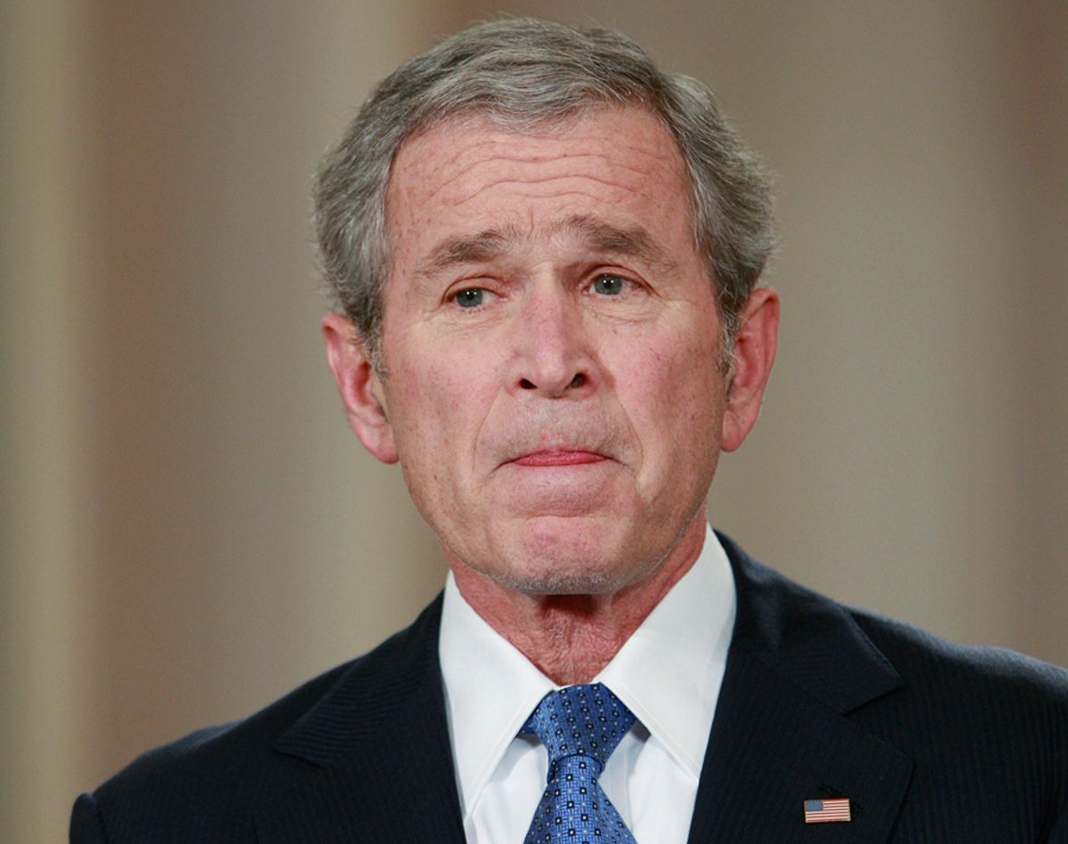 U.S. President George W. Bush pauses during his final live television address to the nation from the East Room of the White House in Washington January 15, 2009. Bush on Thursday defended his actions to avert a collapse of the financial system and protect America from another terrorist attack as he mounted a farewell bid to polish his troubled legacy.       REUTERS/Jason Reed (UNITED STATES)  REUTERS   (?? Jason Reed / Reuters)
