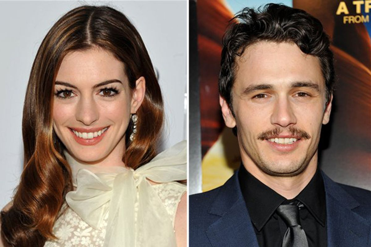 Next year's Oscar hosts: Anne Hathaway (L) and James Franco.