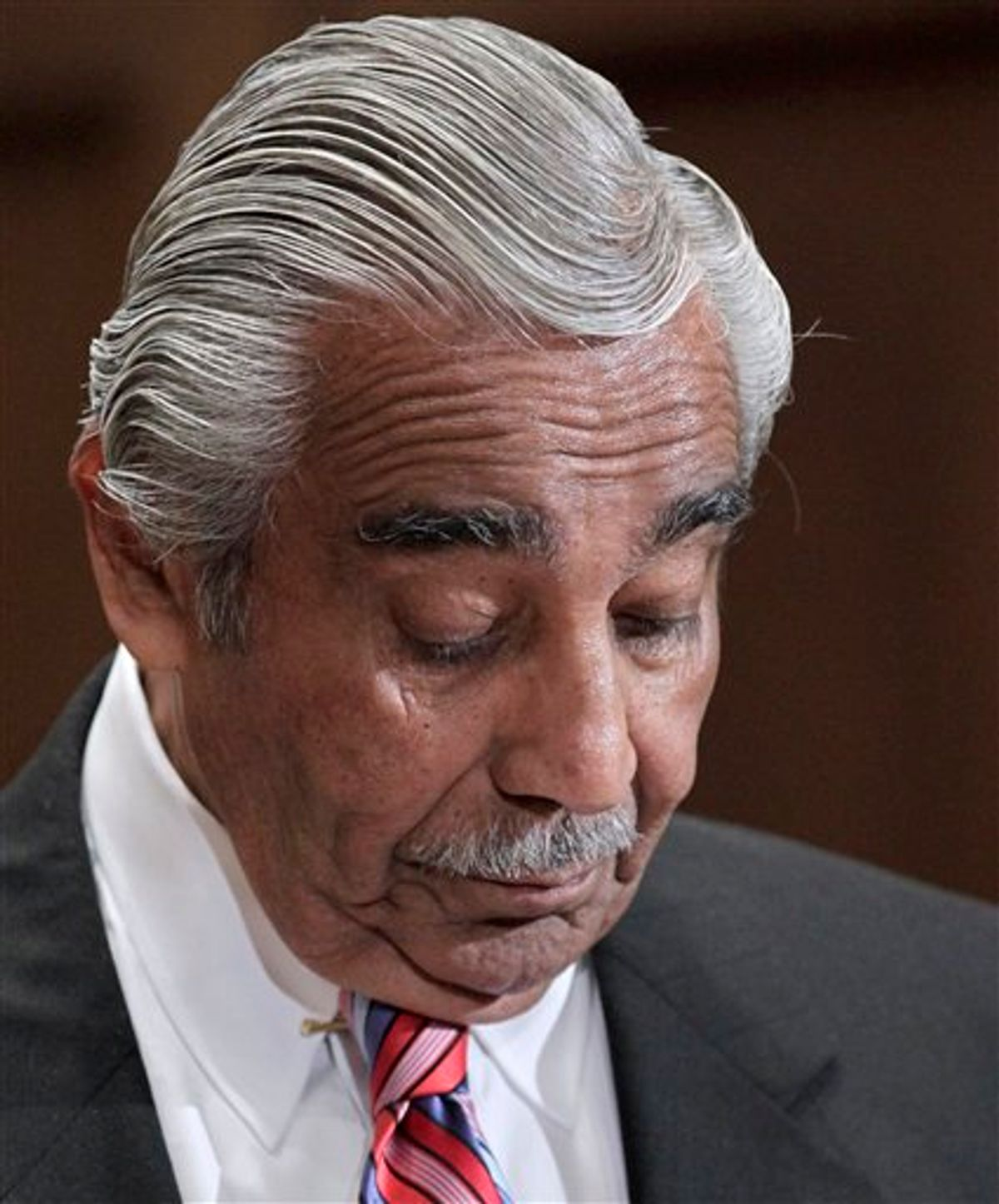 Rep. Charlie Rangel, D-N.Y., appears  on Capitol Hill in Washington, Monday, Nov. 15, 2010, before the House Committee on Standards of Official Conduct hearing as he faces 13 charges of violating House ethics rules. (AP Photo/J. Scott Applewhite) (AP)