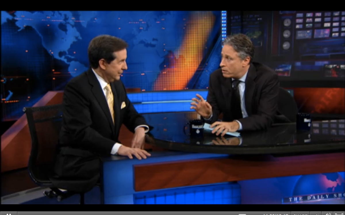 """Chris Wallace and Jon Stewart talk on last night's episode of """"The Daily Show"""""""