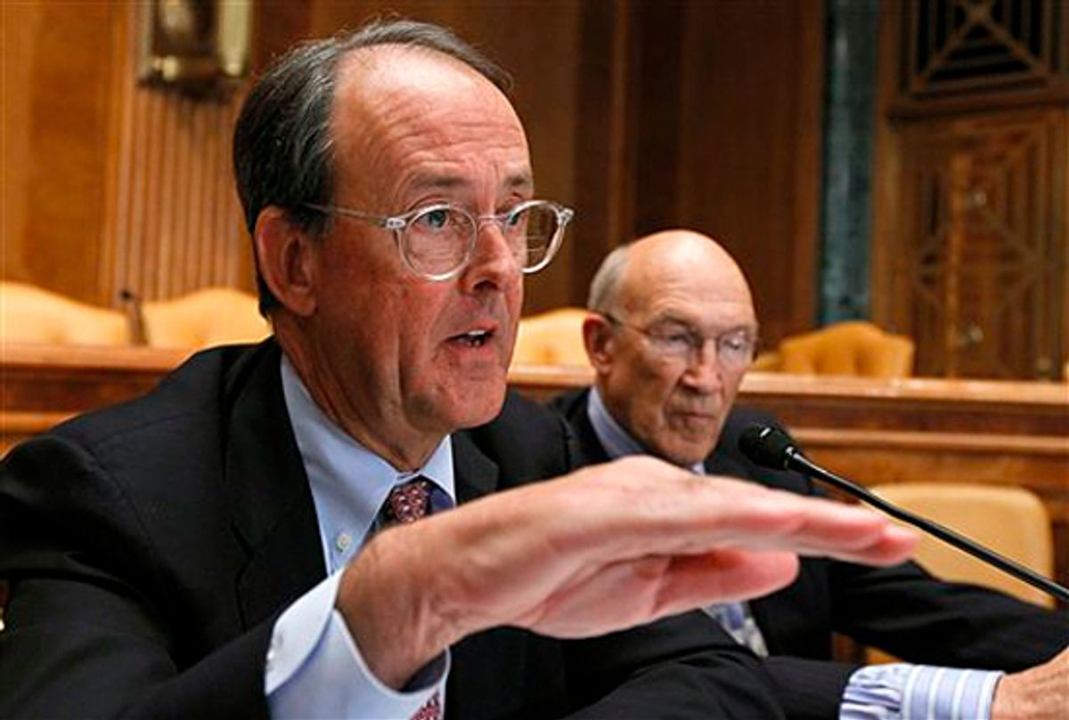Erskine Bowles, left, accompanied by former Wyoming Sen. Alan Simpson, co-chairmen of President Barack Obama's bipartisan deficit commission.