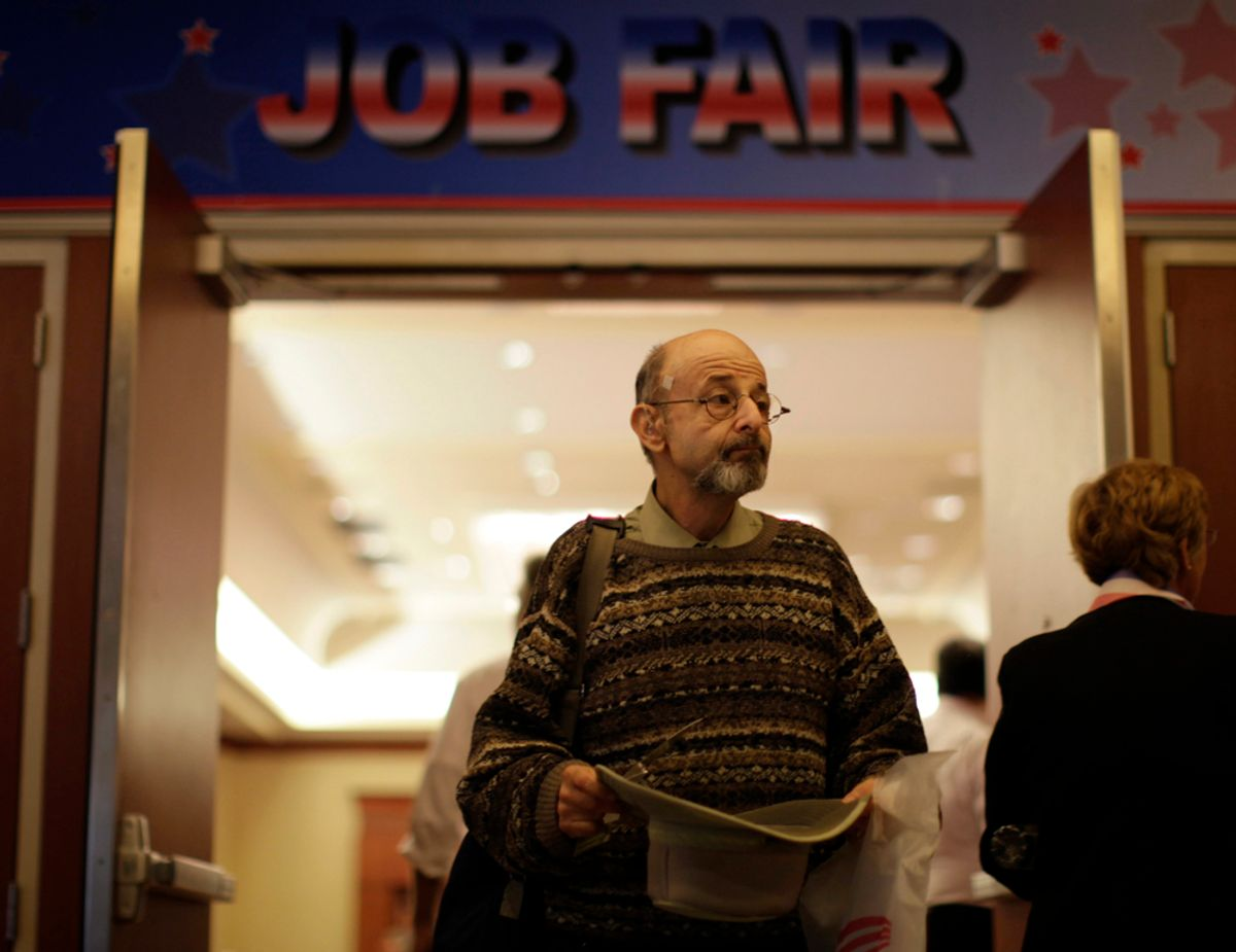 A man walks out of a job fair for military veterans and other unemployed people in Los Angeles, California, October 7, 2010.  REUTERS/Lucy Nicholson (UNITED STATES - Tags: EMPLOYMENT BUSINESS)    (© Lucy Nicholson / Reuters)
