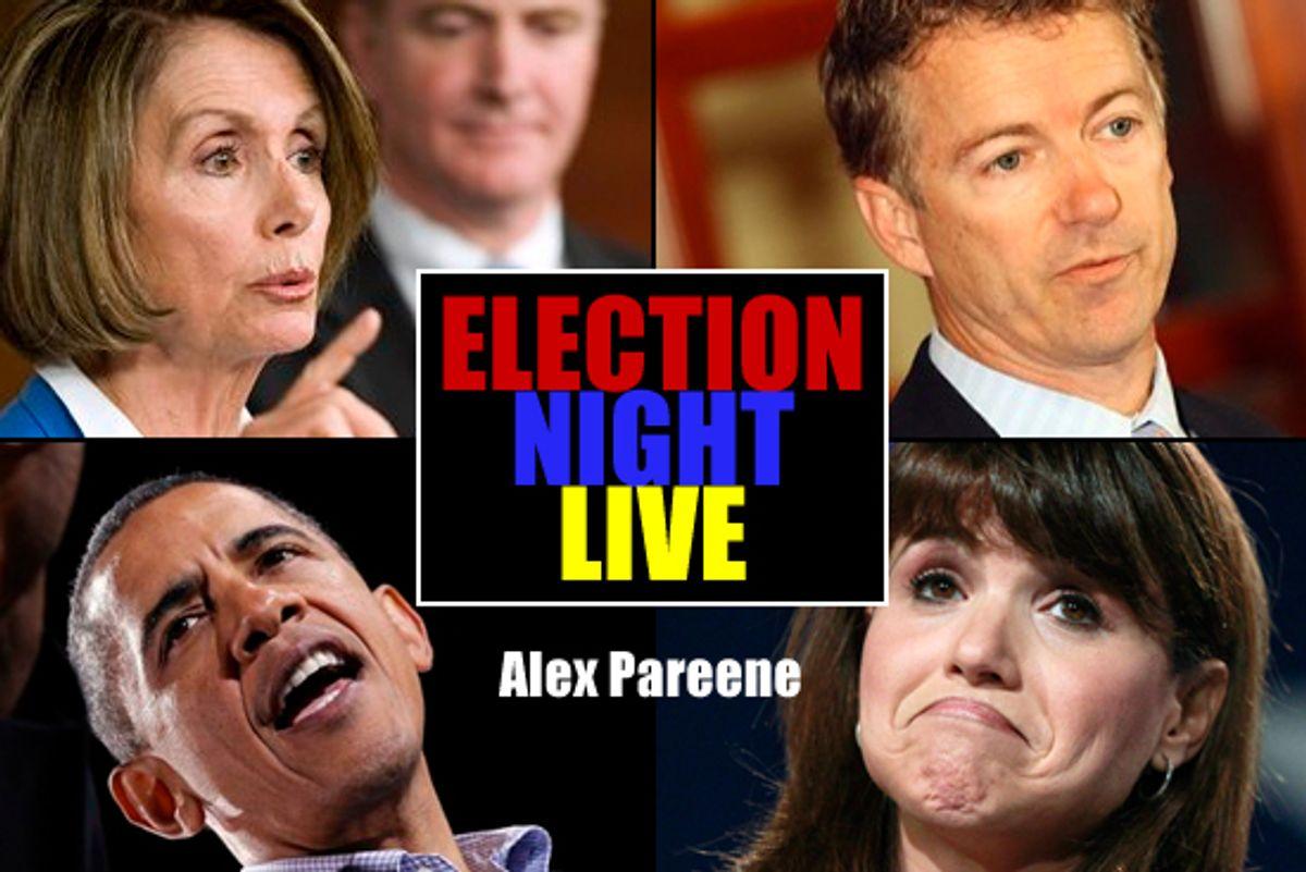 Clockwise, top left: Nancy Pelosi, Rand Paul, Christine O'Donnell and President Barack Obama