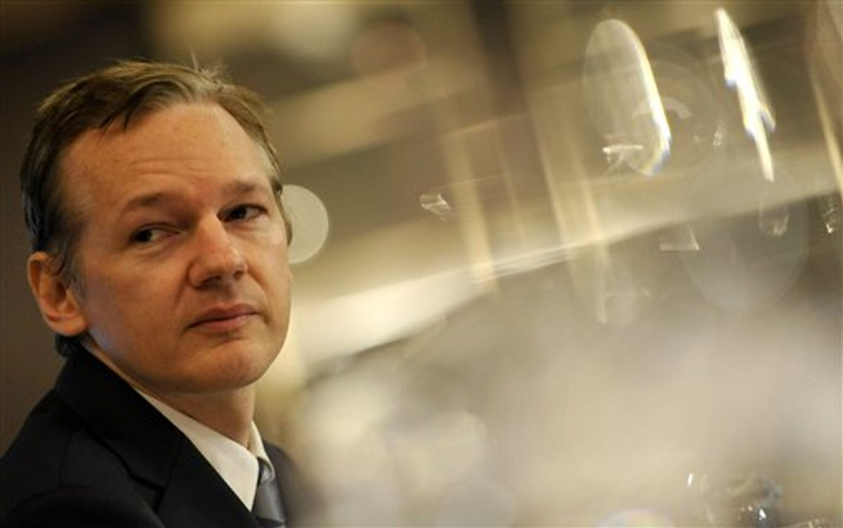 FILE- In this Saturday, Oct. 23, 2010 file picture founder of the WikiLeaks website, Julian Assange, speaks during a press conference in London. A Swedish prosecutor has asked for a court order to detain WikiLeaks founder Julian Assange for questioning on suspicions of rape, sexual molestation and unlawful coercion.(AP Photo/Lennart Preiss/File) (Associated Press)