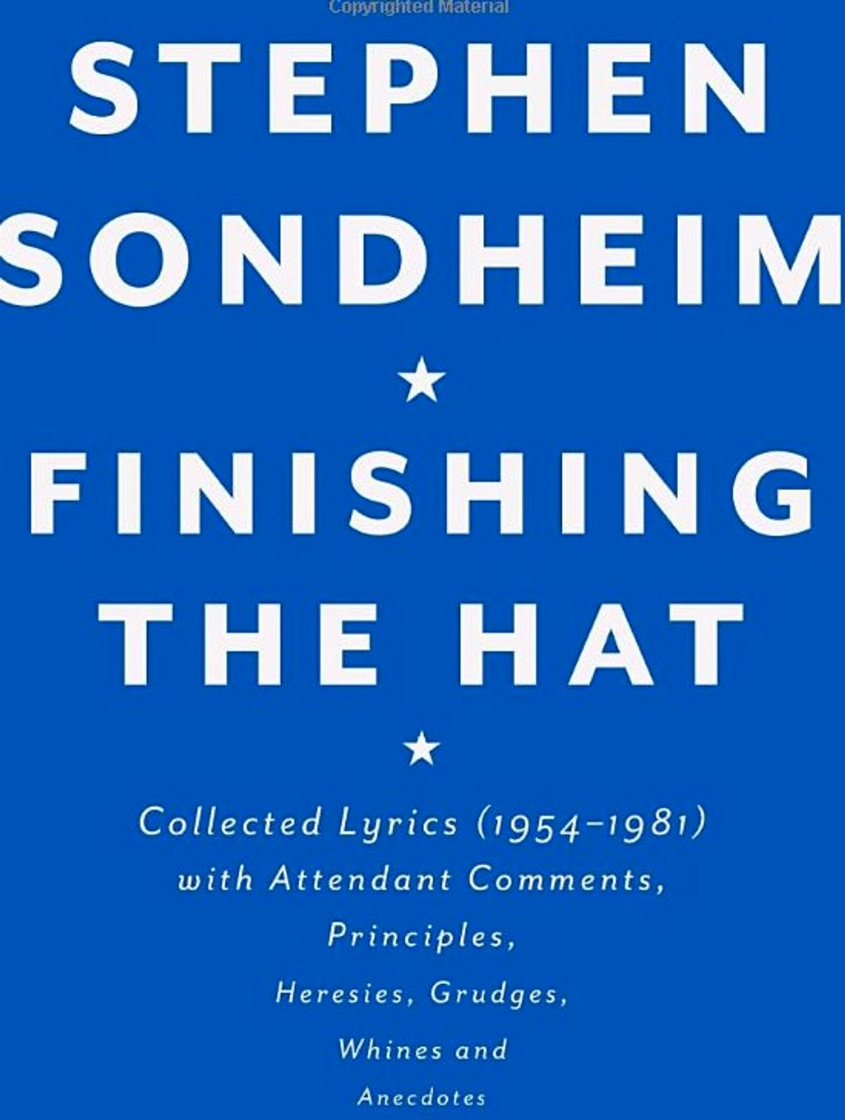 Finishing the Hat by Stephen Sondheim