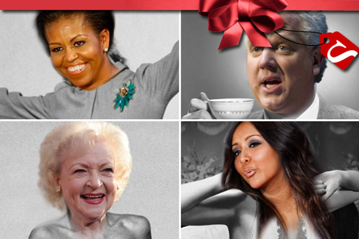 Clockwise from top left: First lady Michelle Obama, Glenn Beck, Snooki and Betty White