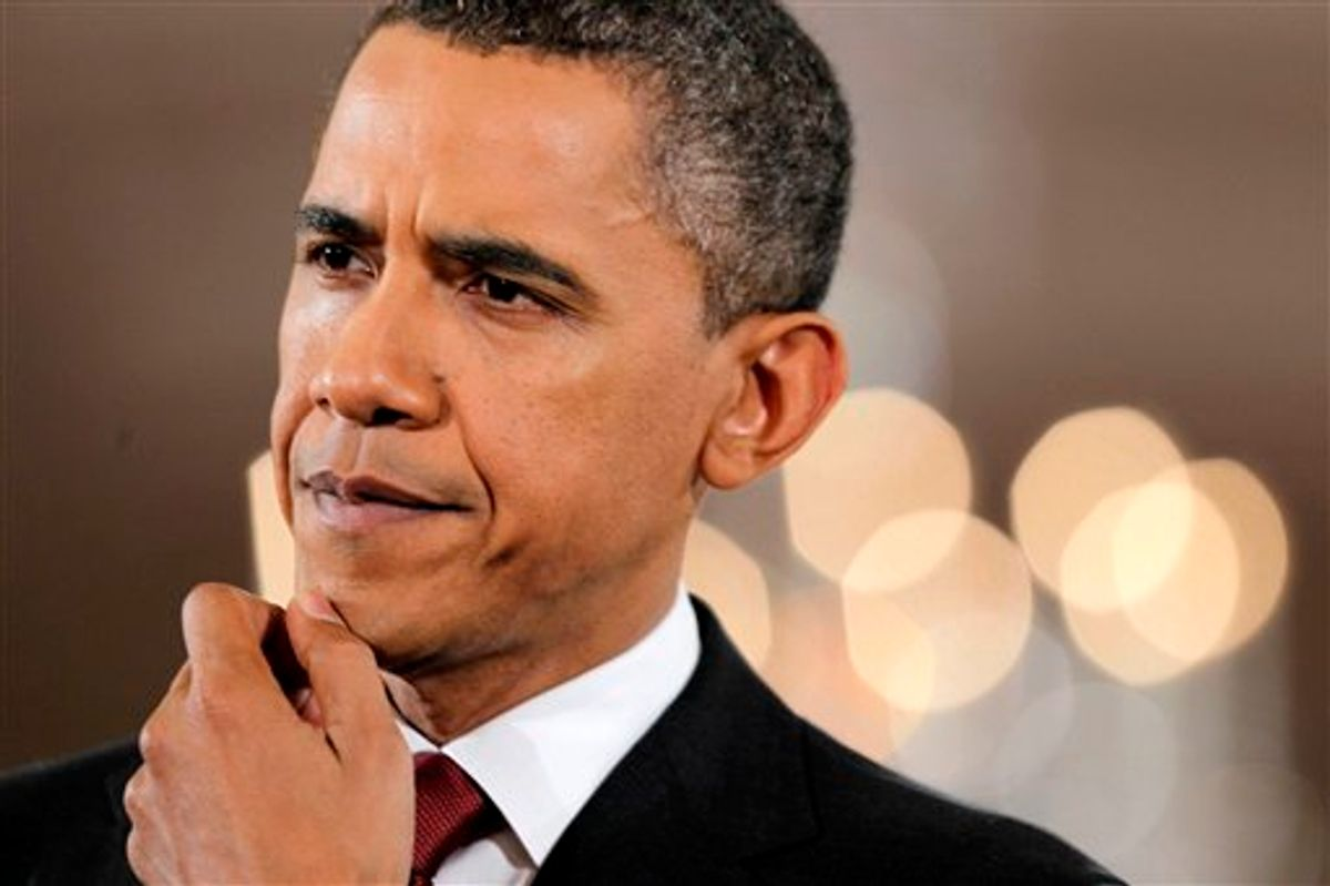 President Barack Obama listens to a question during a news conference in the East Room of the White House in Washington,  Wednesday, Nov. 3, 2010.  (AP Photo/Charles Dharapak) (AP)