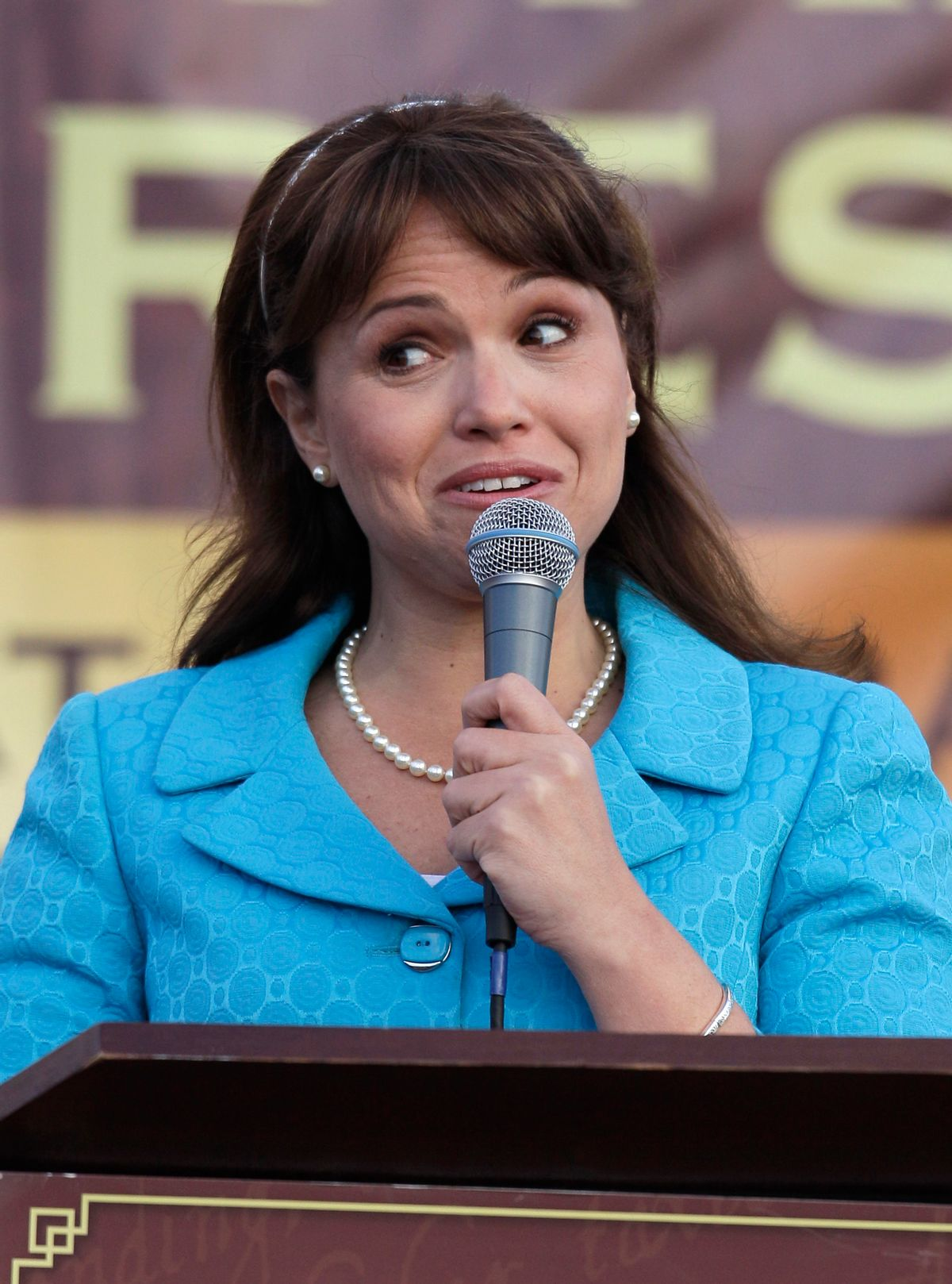 Delaware Republican Senate nominee Christine O'Donnell during Tea Party Express rally, Sunday, Oct. 31, 2010, in Wilmington, Del. (AP Photo/Rob Carr) (Rob Carr)