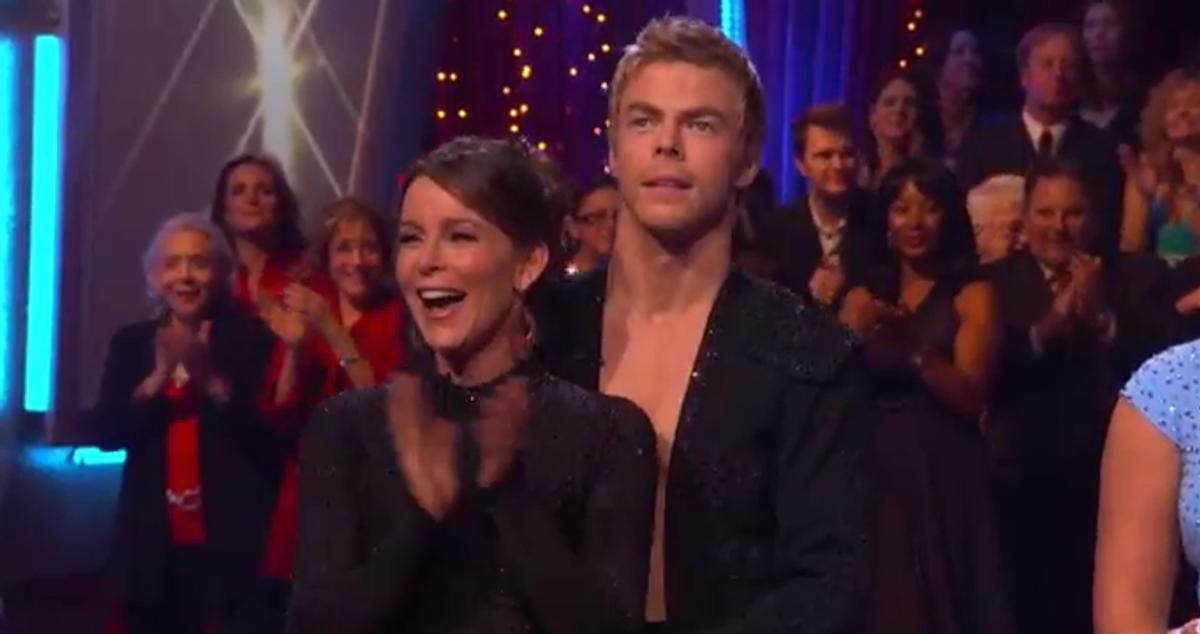 "Jennifer Grey (L) on last night's ""Dancing With the Stars"""