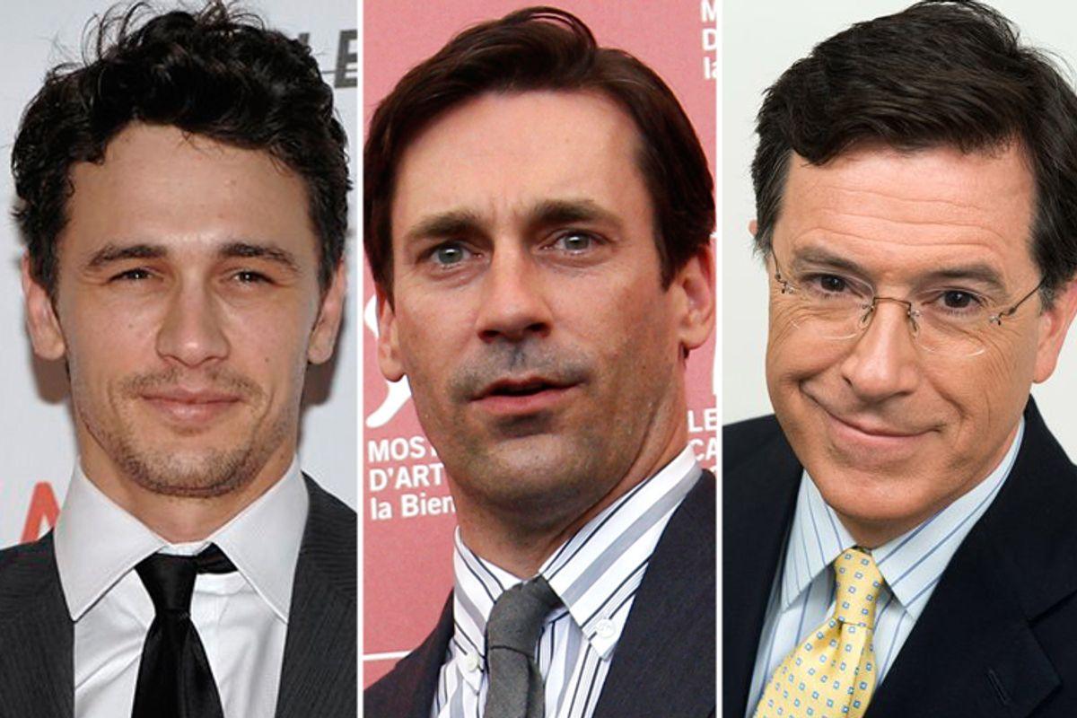 "Former winners of Salon's ""Sexiest Man Living!"" feature, Jon Hamm and Stephen Colbert."