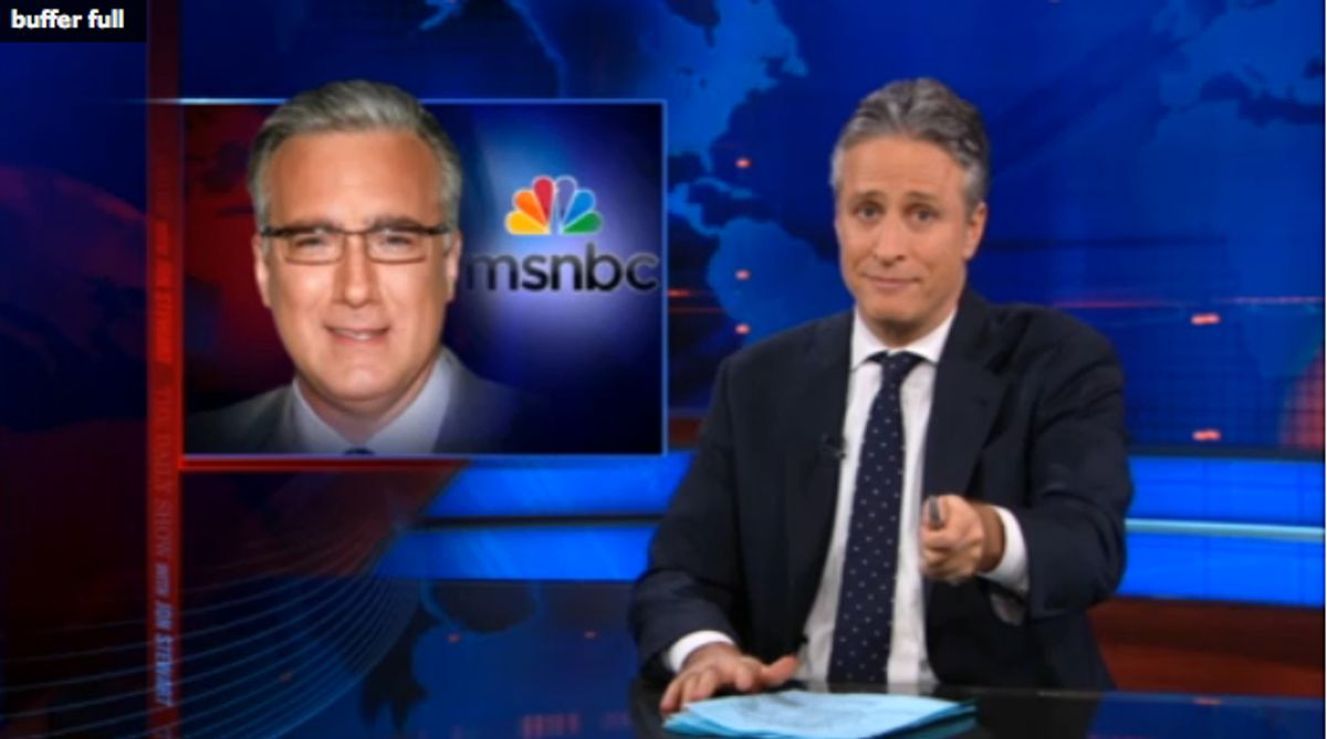 """Jon Stewart discusses Olbermann's suspension on last night's episode of """"The Daily Show"""""""