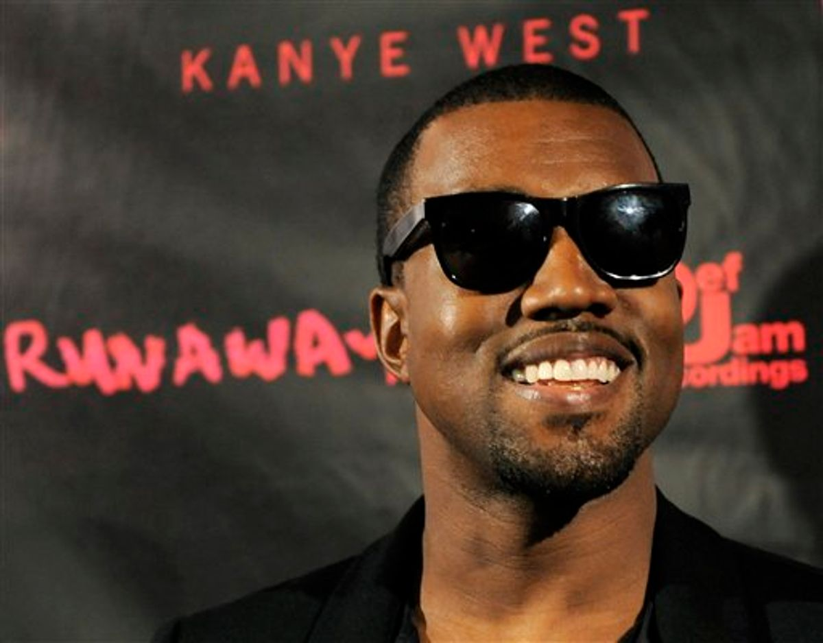 """Hip-hop artist Kanye West arrives for a screening of """"Runaway,"""" a short film He directed that will accompany his forthcoming album """"My Beautiful Dark Twisted Fantasy,"""" Monday, Oct. 18, 2010, in Los Angeles. (AP Photo/Chris Pizzello)     (AP)"""
