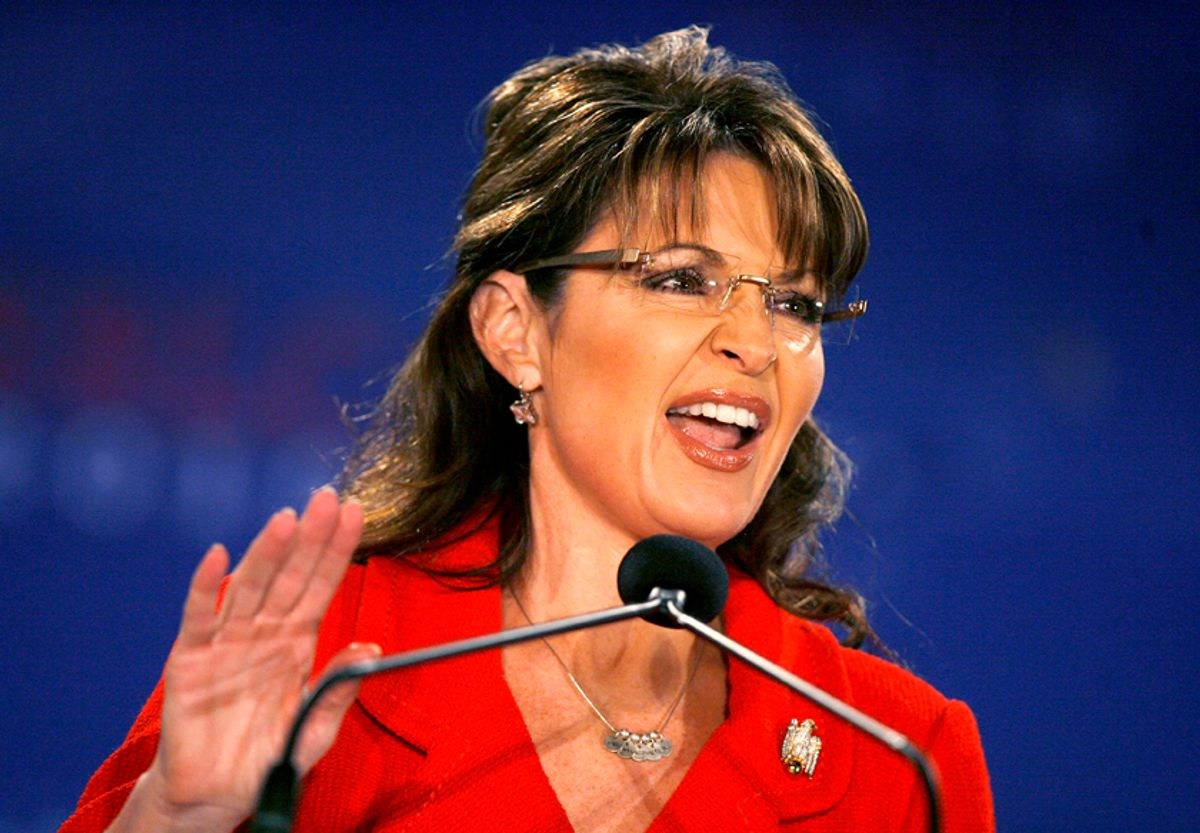Former Alaska Governor and 2008 Republican Vice Presidential candidate Sarah Palin speaks at the 2010 Southern Republican Leadership Conference in New Orleans, Louisiana April 9, 2010. Republicans boldly predicted gains in November congressional elections on Thursday and rallied loyalists with sharp criticism of U.S. President Barack Obama over issues from healthcare to foreign policy. Palin is the Conference's headline speaker on Friday. REUTERS/Sean Gardner (UNITED STATES - Tags: POLITICS) (© Sean Gardner / Reuters)