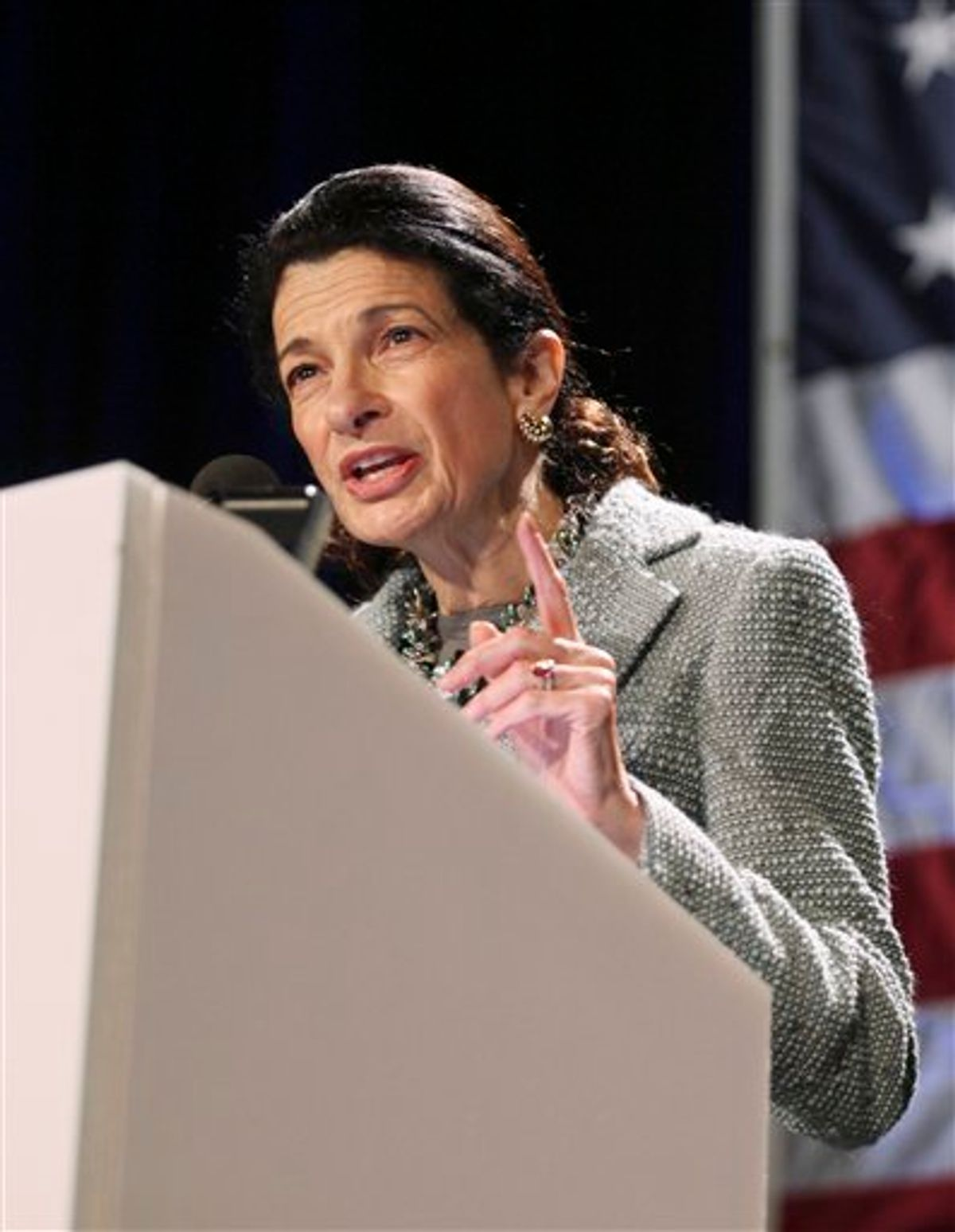 FILE- In this May 7, 2010 file photo, Sen. Olympia Snowe, R-Maine, speaks in Portland, Maine.  The government is expected to announce this week that more than 58 million Social Security recipients will go through another year without an increase in their monthly benefits. Snowe was the only Republican to support a second Social Security bonus payment, like the one-time $250 in 2009, when it became clear that seniors wouldn't get an increase in monthly benefit payments in 2010; the bill died from lack of support.   (AP Photo/Joel Page, File) (AP)
