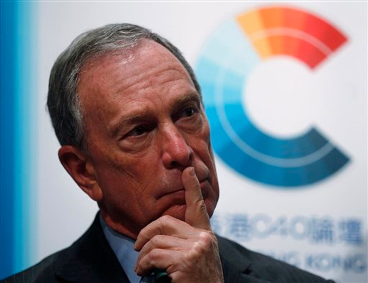 New York City Mayor Michael Bloomberg attends a news conference in Hong Kong Friday, Nov. 5, 2010. Bloomberg has praised Chinese cities for taking part in a climate change coalition that he is set to lead, saying he is heartened that they are no longer blinded by the pursuit of economic growth.  (AP Photo/Kin Cheung) (AP)