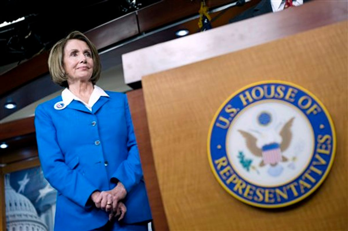 FILE - In this Sept. 30, 2010 file photo, House Speaker Nancy Pelosi of Calif., listens to a reporters question during a news conference on Capitol Hill in Washington. In these angry political times, Democrats and Republicans agree on next to nothing. China is one exception. Democrats and Republicans alike are accusing each other of cozying up to Beijing and backing policies that send U.S. jobs and IOUs to the world's second largest economy. (AP Photo/Cliff Owen, File) (AP)