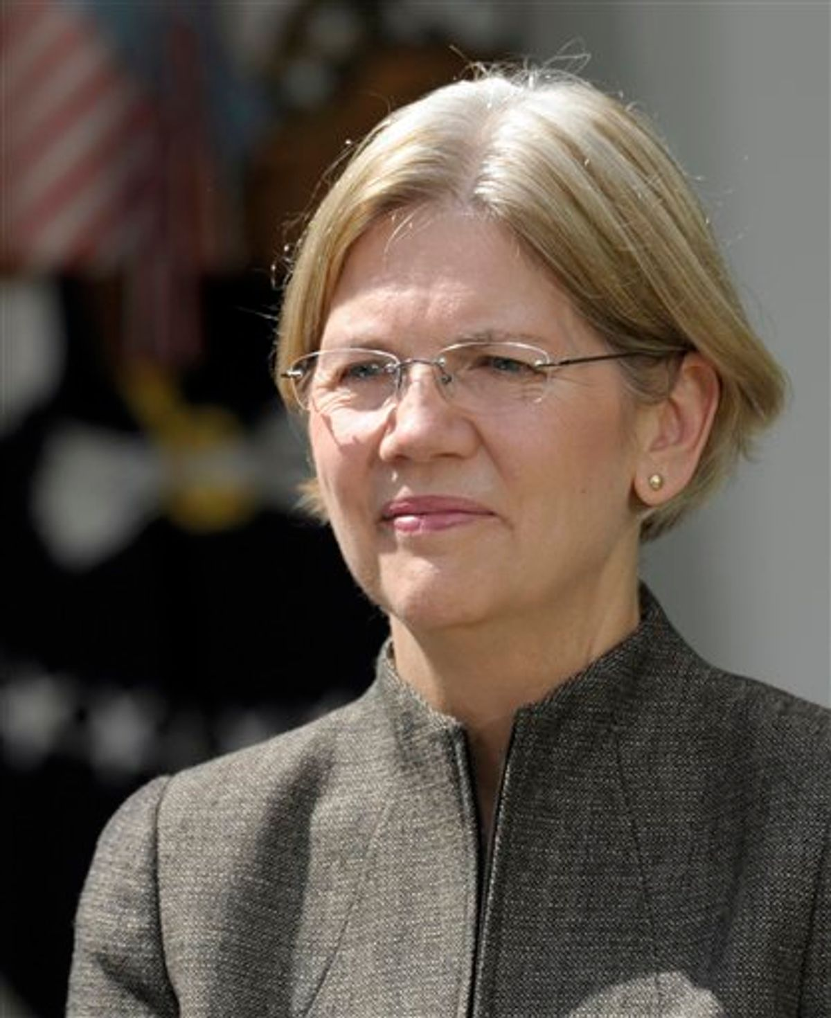 Elizabeth Warren is seen in the Rose Garden of the White House in Washington, Friday, Sept. 17, 2010, where President Barack Obama announces that she will head the Consumer Financial Protection Bureau. (AP Photo/Susan Walsh) (AP)