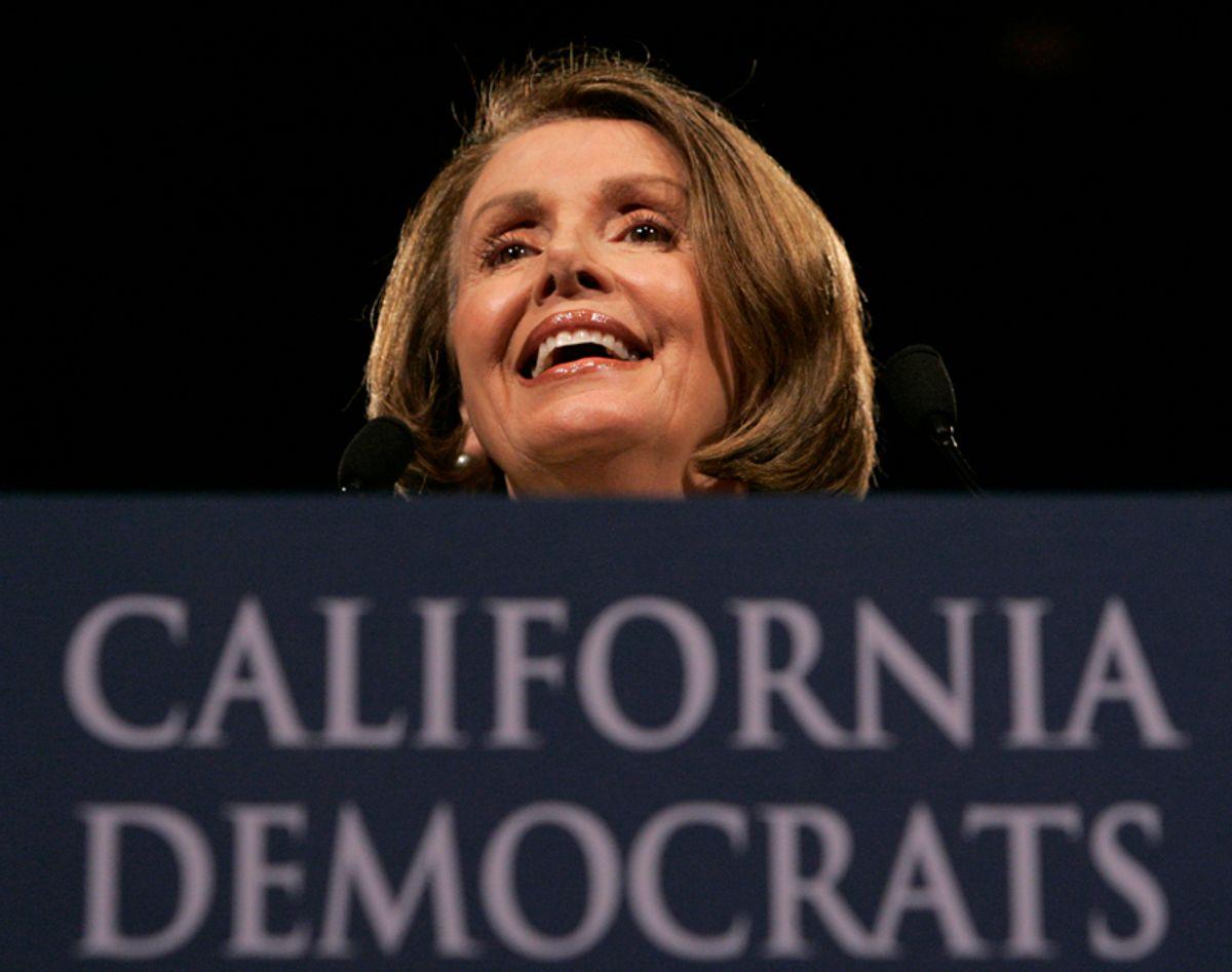 House Speaker Nancy Pelosi, D-Calif., smiles as she addresses delegates at the California Democratic Party Convention in Sacramento, Calif., Saturday, April 25, 2009.(AP Photo/Rich Pedroncelli) (Rich Pedroncelli)