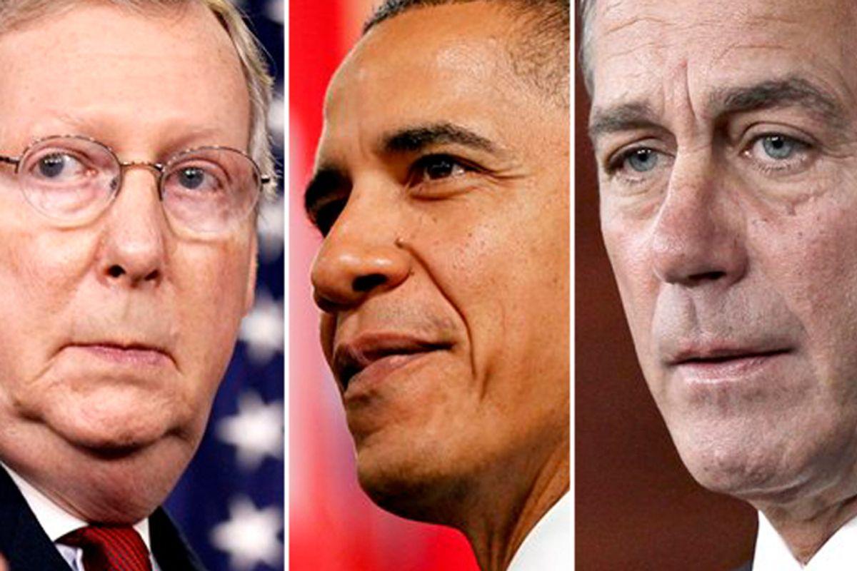 Mitch McConnell, Barack Obama and John Boehner