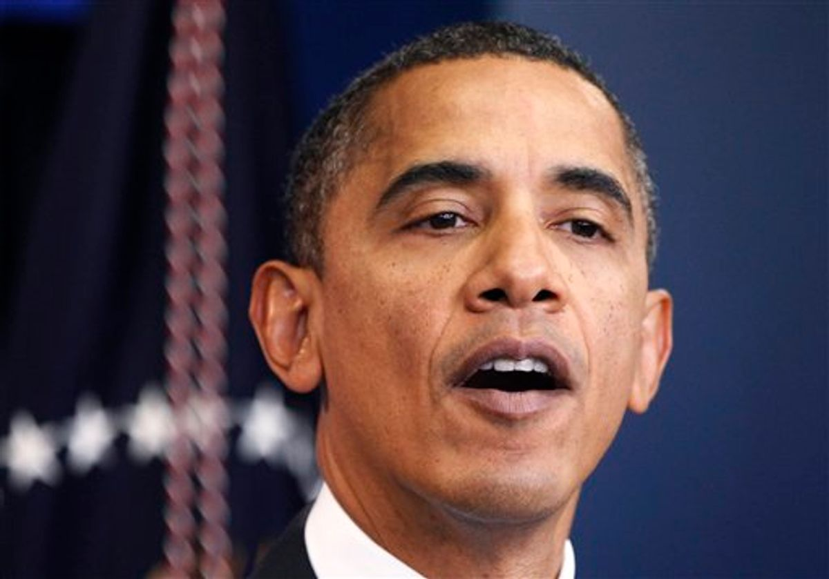 President Barack Obama delivers a statement at the White House in Washington, Friday, Oct. 29, 2010. Obama says US committed to disrupting al-Qaida in Yemen, stops short of tying group to bombs. (AP Photo/Manuel Balce Ceneta) (AP)