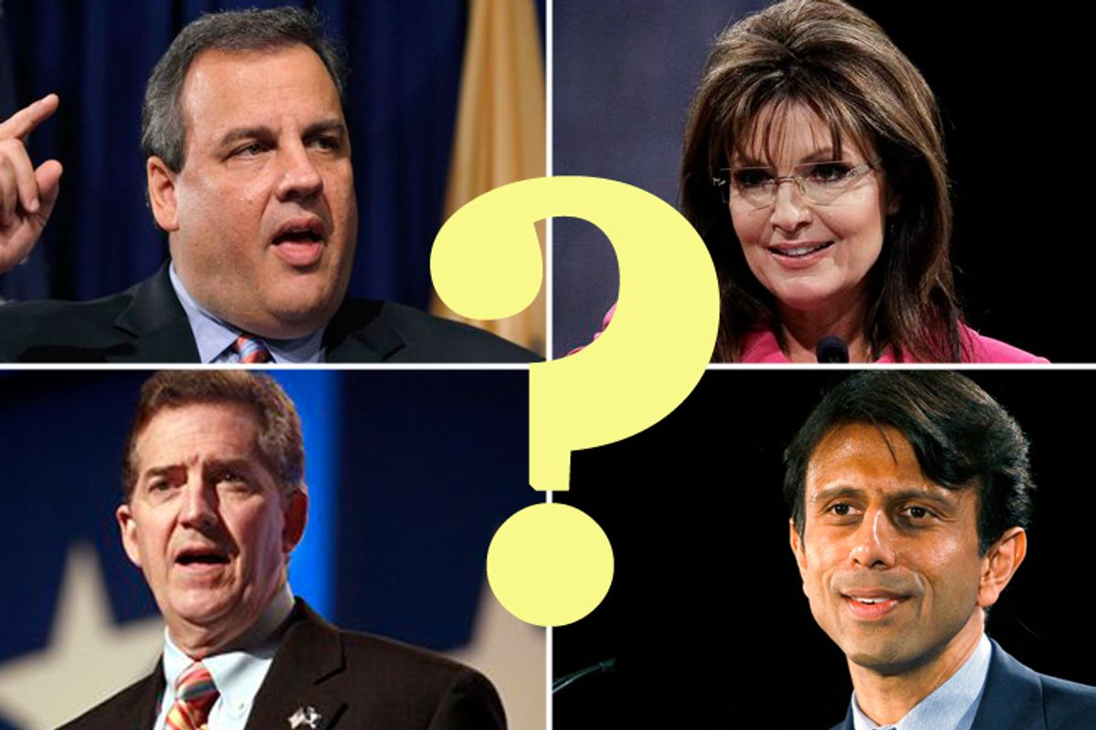 Clockwise from upper left: Chris Christie, Sarah Palin, Bobby Jindal and Jim DeMint