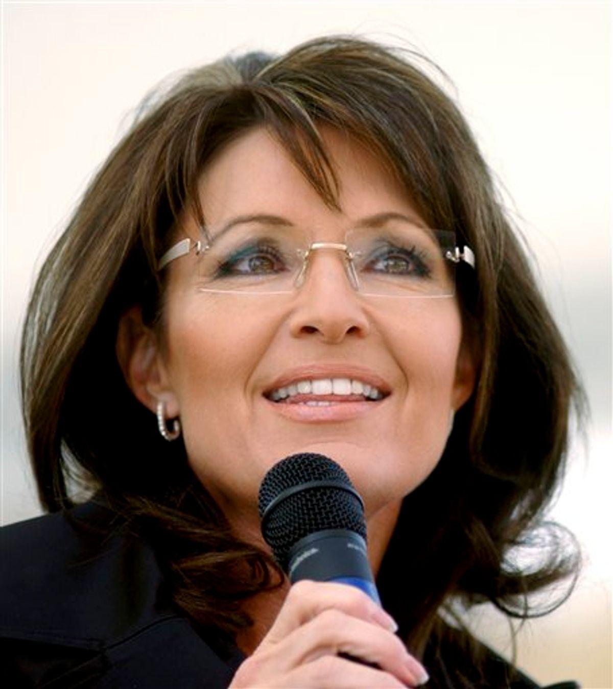 FILE - In this Oct. 30, 2010 file photo, former Alaska Gov. Sarah Palin stumps for Republican candidate for Senate, John Raese, during a rally at Haddad Riverfront Park in Charleston, W.Va. (AP Photo/Jon C. Hancock, file) (AP)