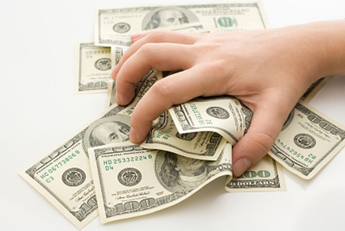 Grabbing money isolated on white background (Andrii Lychak)