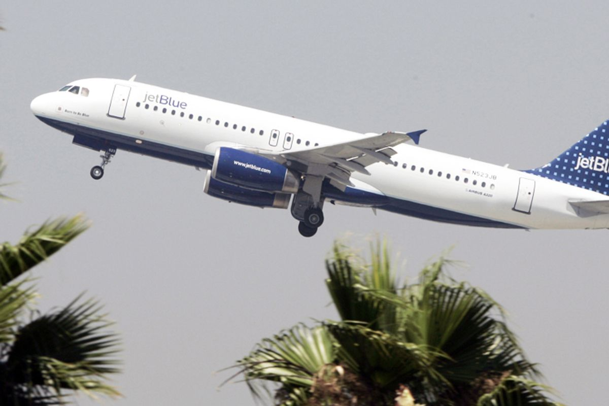 A JetBlue Airbus A320 takes off from Bob Hope Airport in Burbank, Calif.